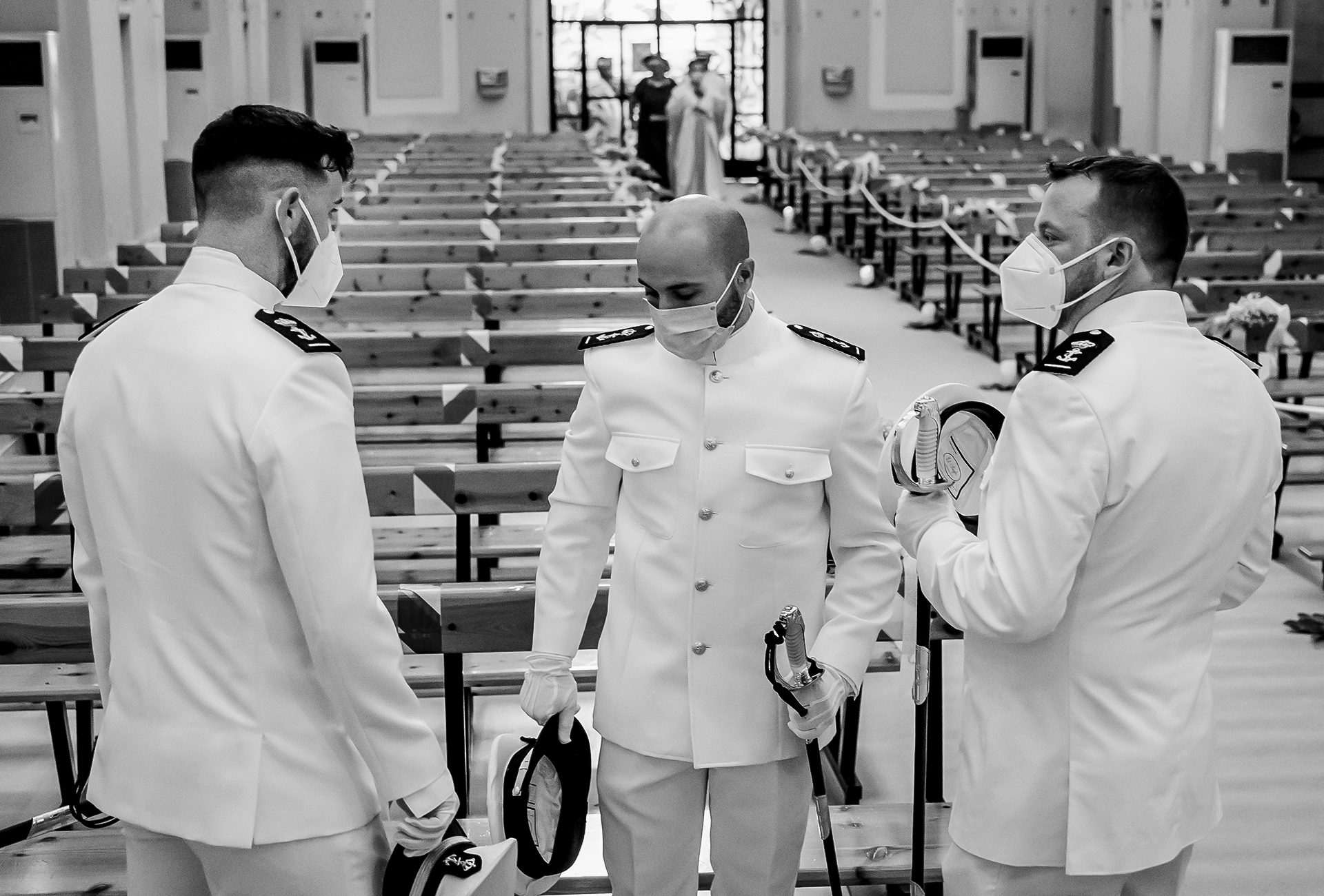 Aguilas COVID elopement photographer | The groom and his military attendants wait for the bride