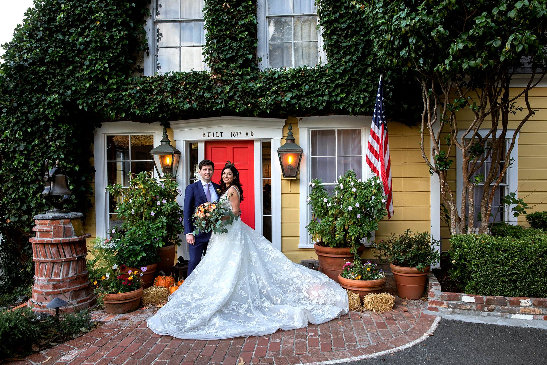 California Historic House Elopement Portraits   Heritage House Resort & Spa's iconic entrance photo session
