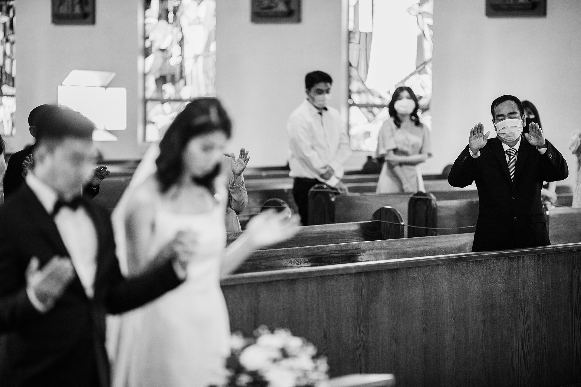 San Jose micro ceremony photography | Wearing masks and social distancing inside the church