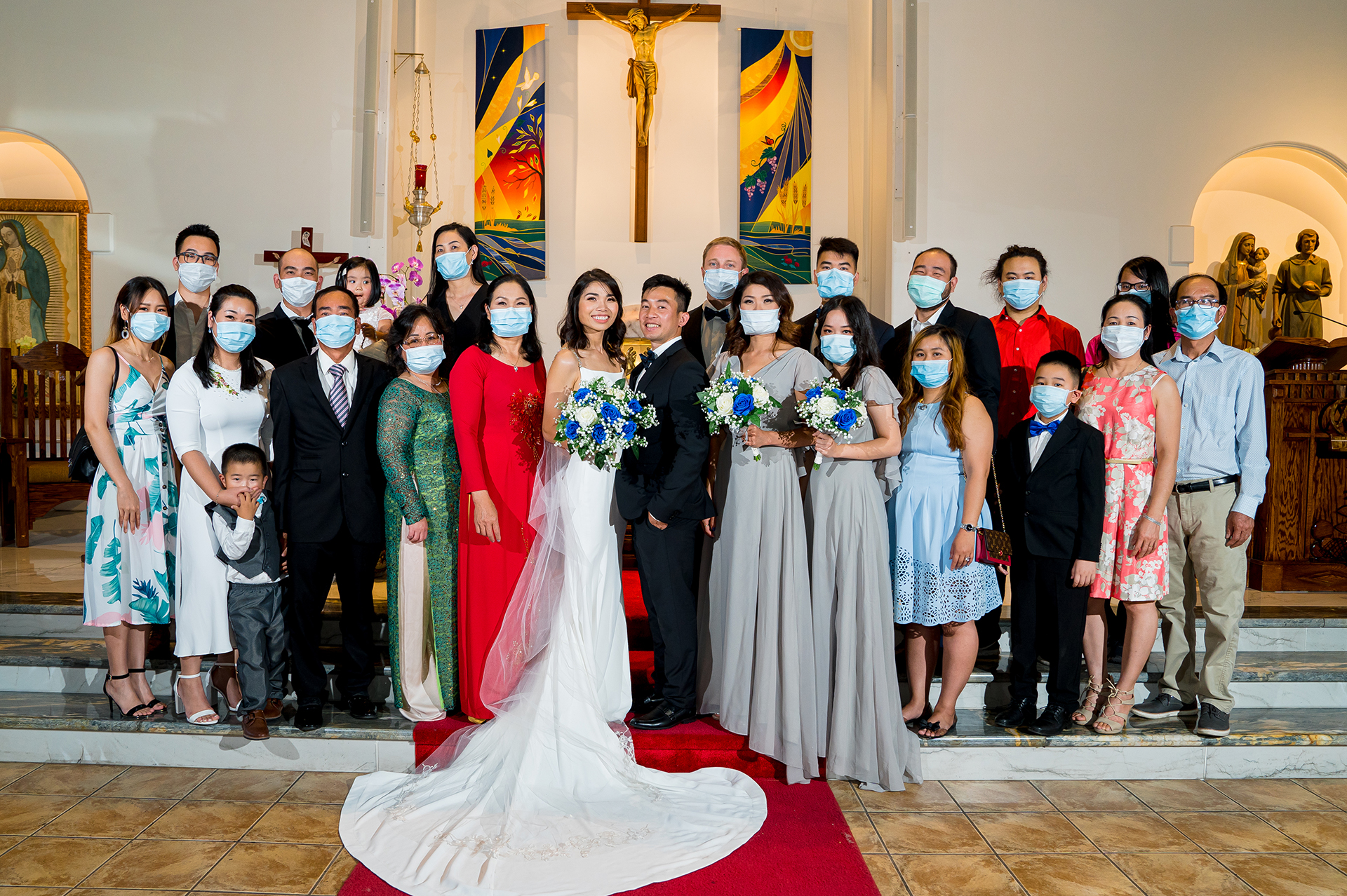 San Jose wedding family portrait during COVID | The bride and groom take a formal portrait with their family members