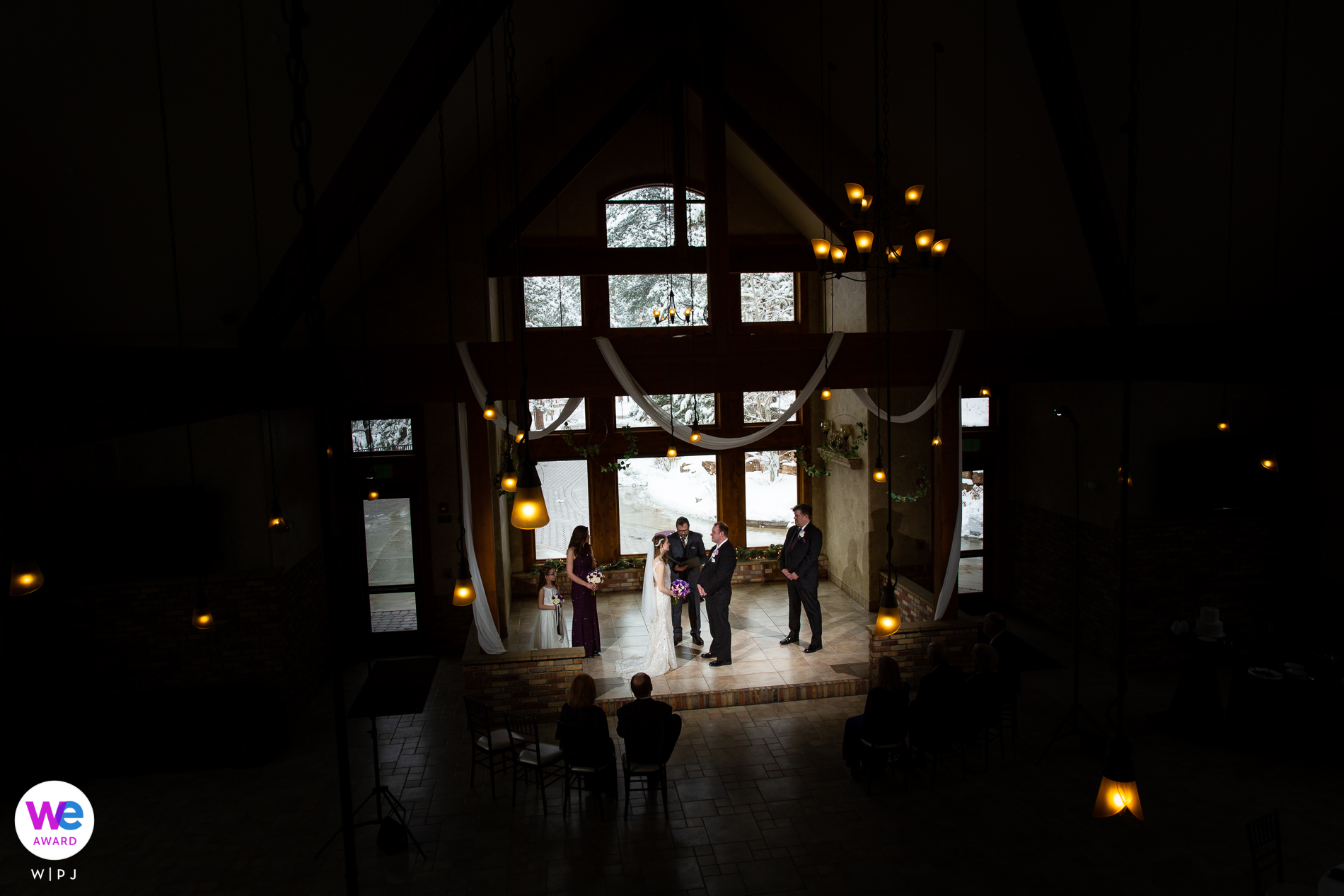 Estes Park, Colorado Elopement Photographer | Only a few chairs were needed for the couple's parents to witness their COVID-19 ceremony