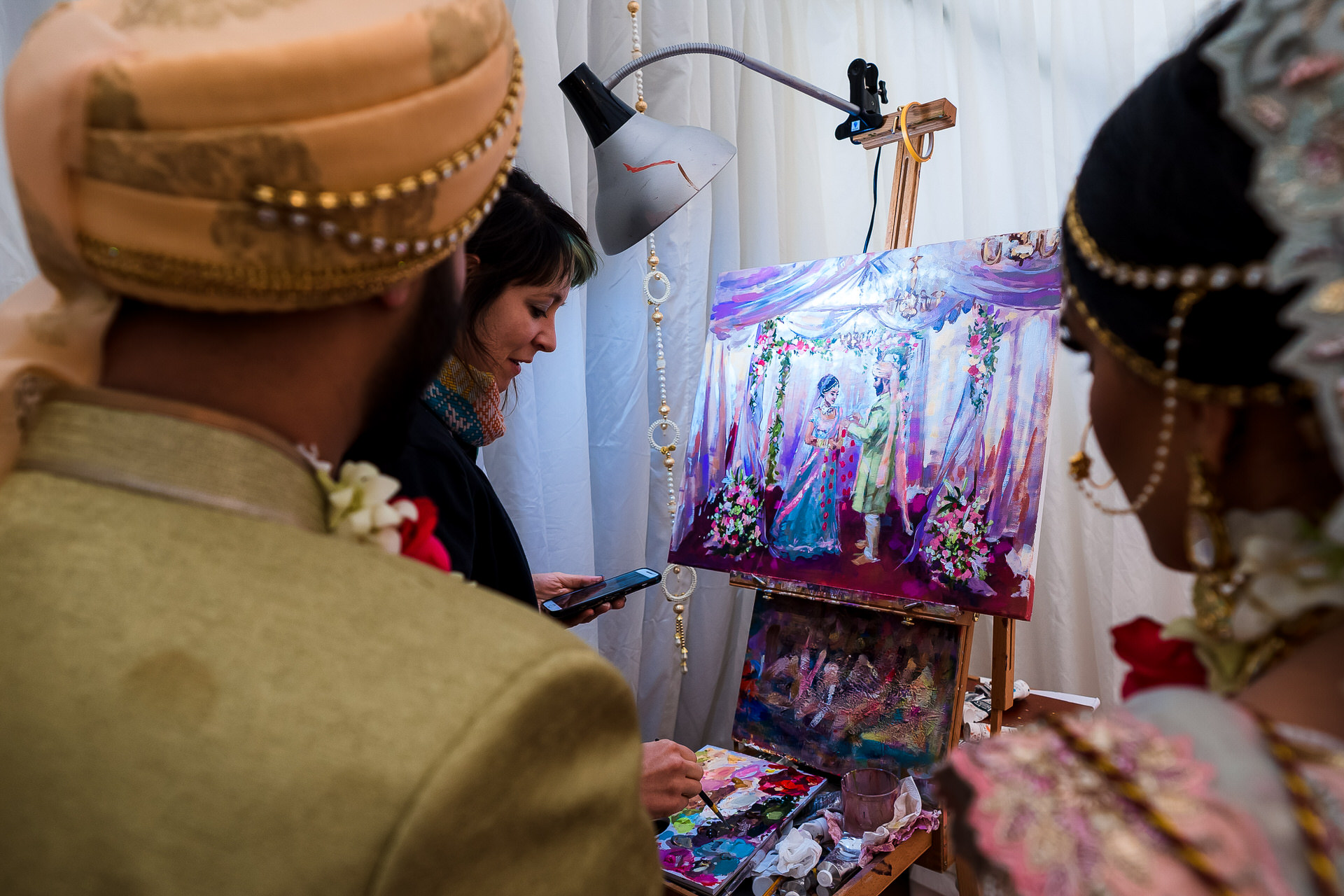 London-based Indian Elopement Photography | Live painting of the ceremony by artist Stephanie Struth