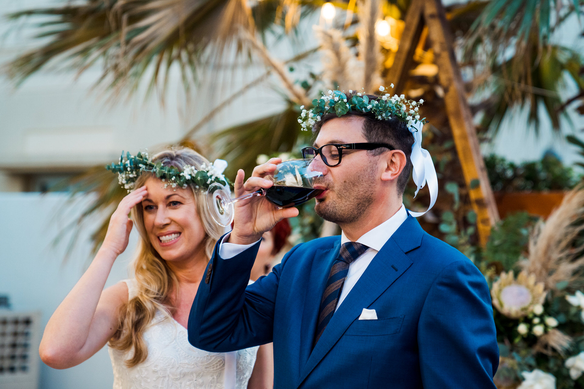 UAE Home Elopement Ceremony Photos | The 'common cup', where the couple take three sips of wine representing their union