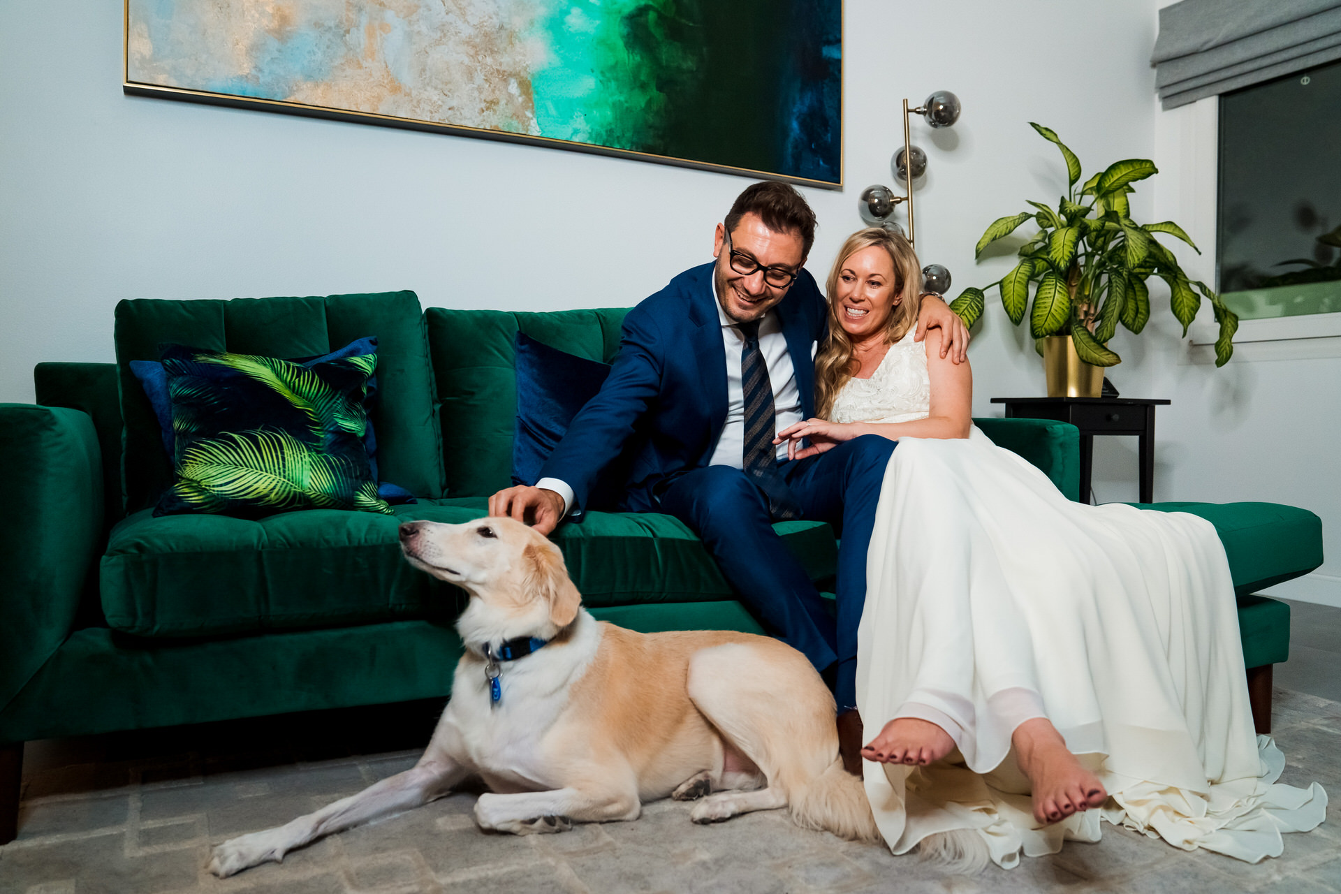 Dubai Couple's At Home Elopement Images | Wedding portrait inside the villa