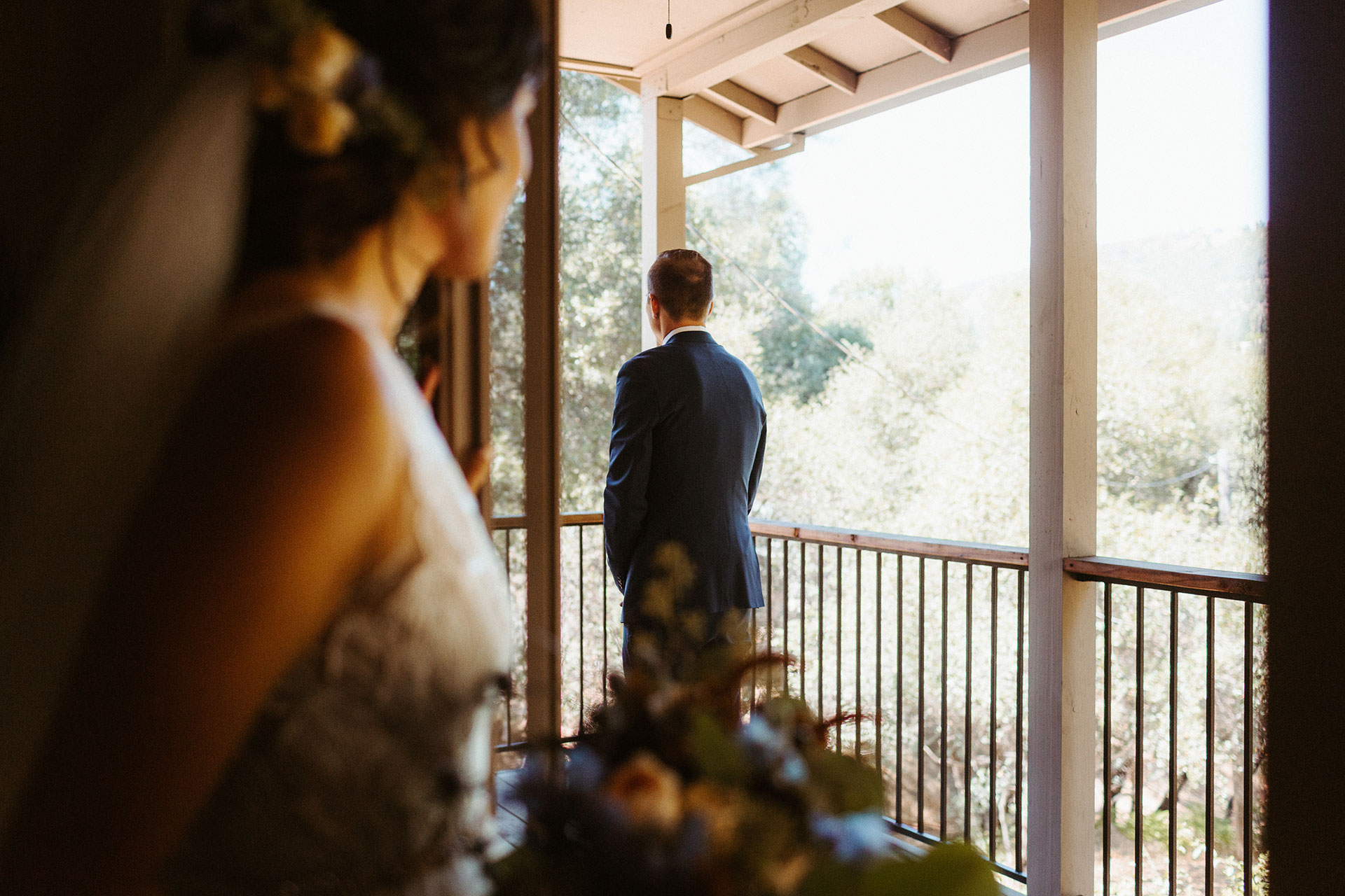 Yosemite Elopement Photographer   First look time for the bride and groom