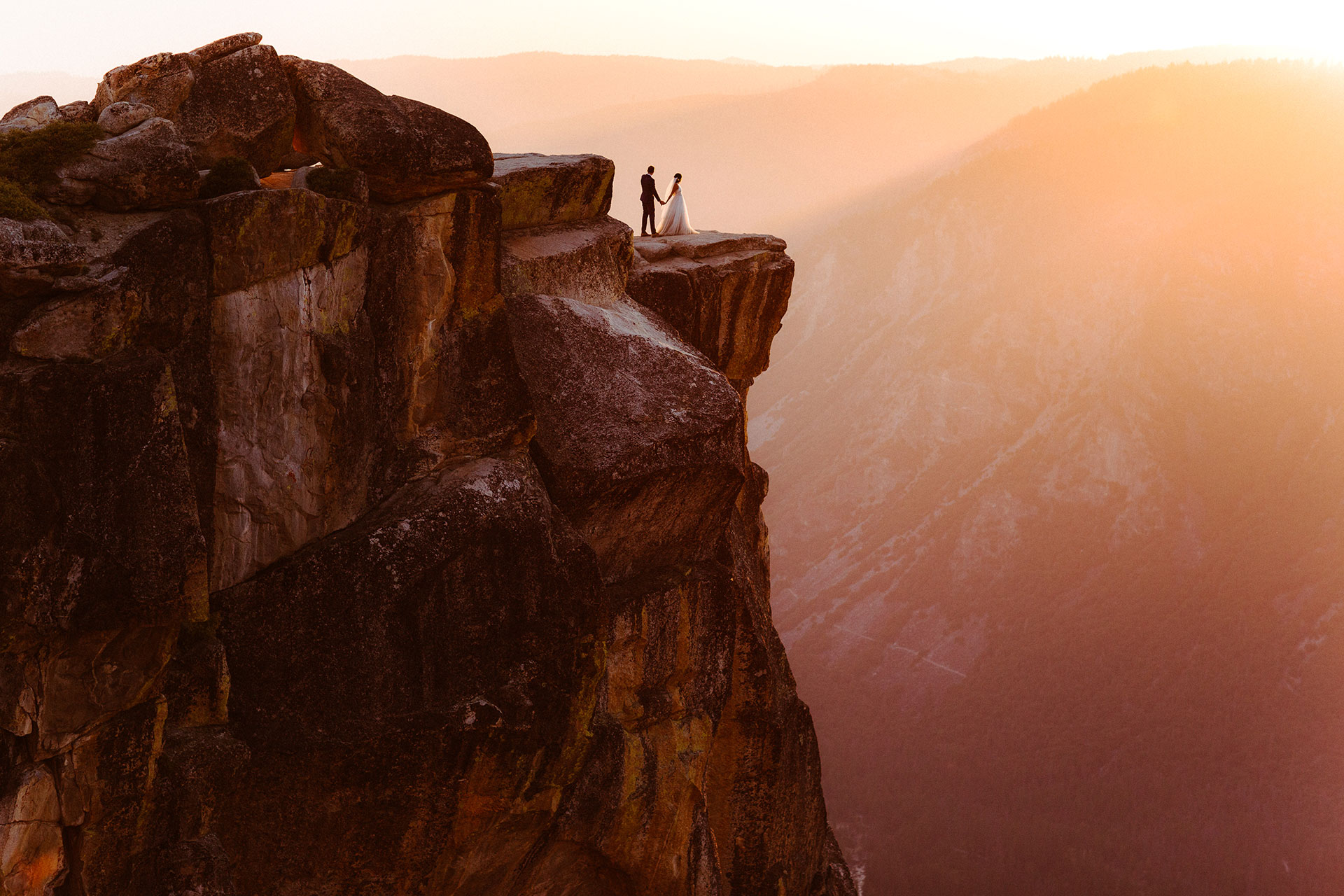 Yosemite National Park, CA, Adventure Elopement Images   Taking in Yosemite in all it's glory as the sun is about to set