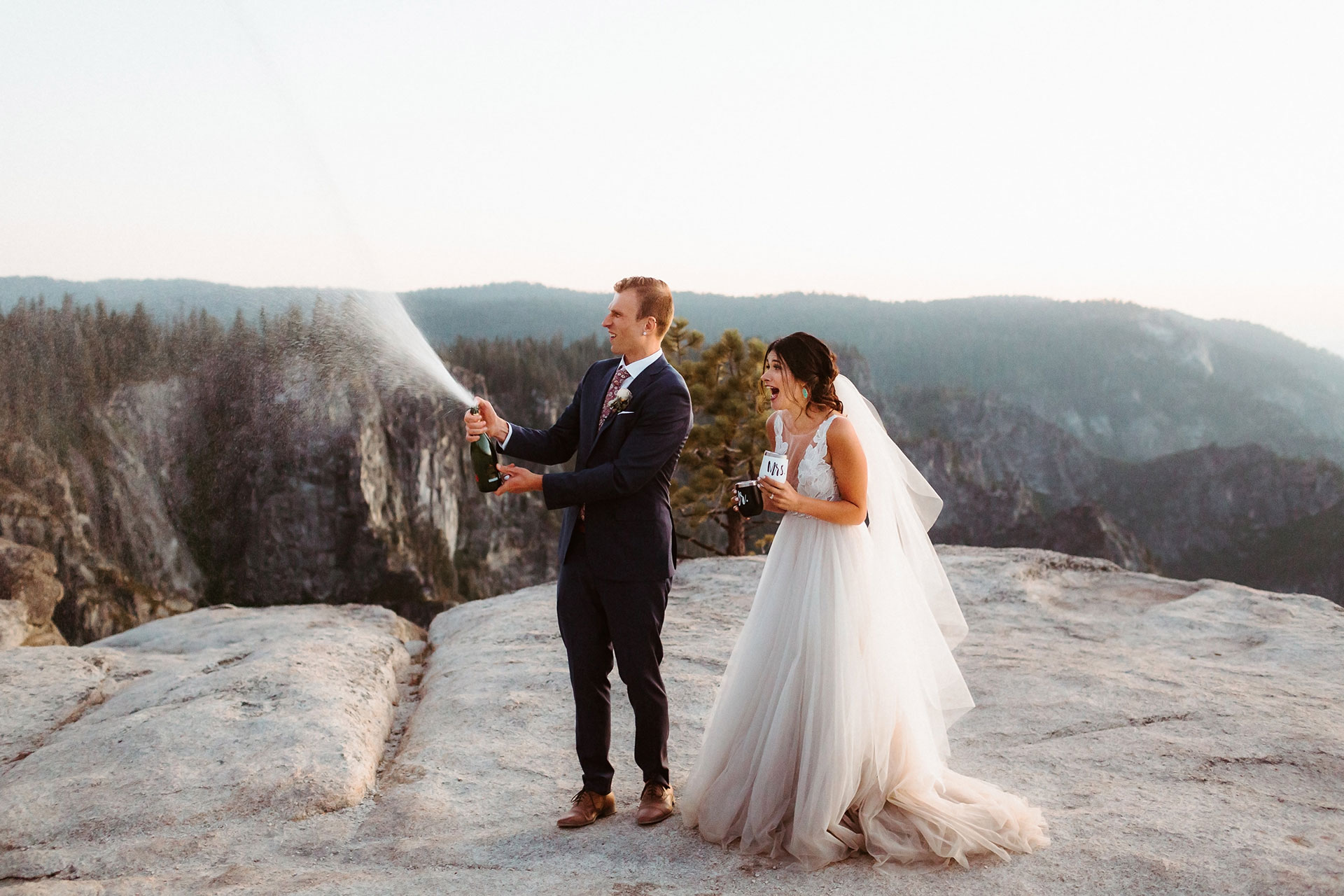 Images of Yosemite National Park, California Elopement Photography   Post ceremony celebration with some champagne