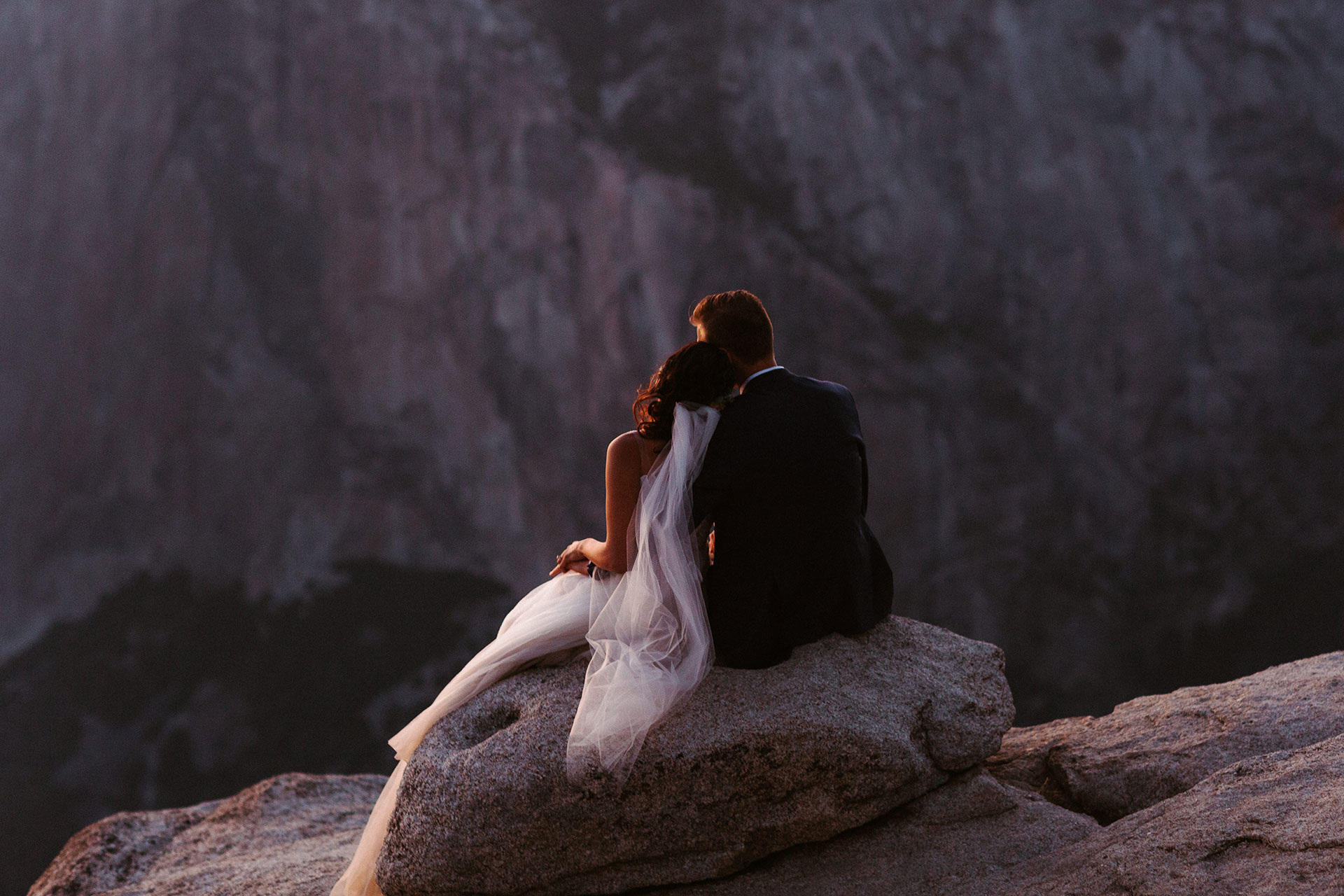 Yosemite Elopement Picture from Adventure Mountain Weddings   Taking time to reflect and enjoying the last light of the day
