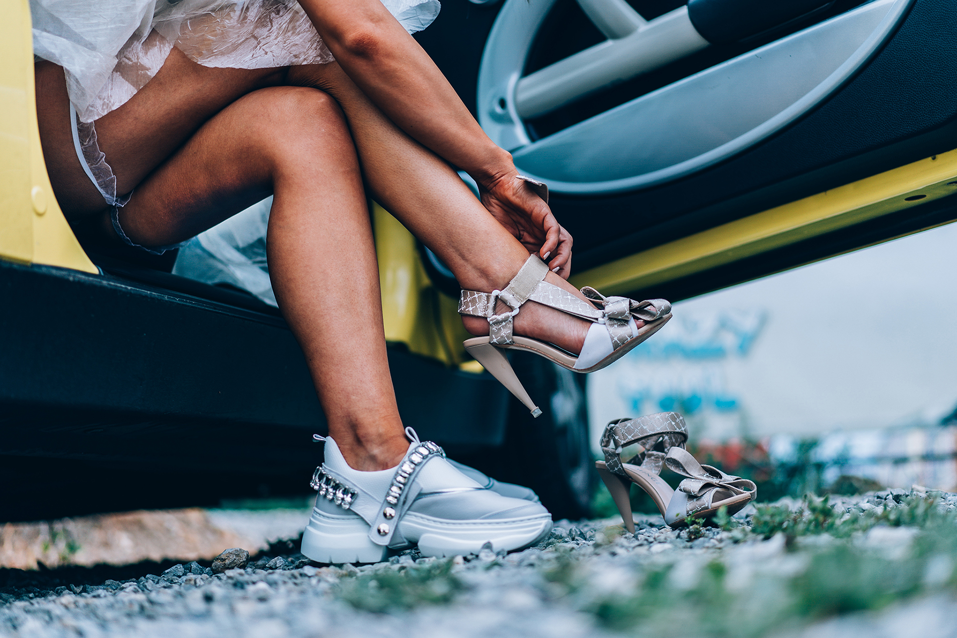 Bulgaria Elopement Detail Images | The bride has cleverly brought a change of shoes for the reception