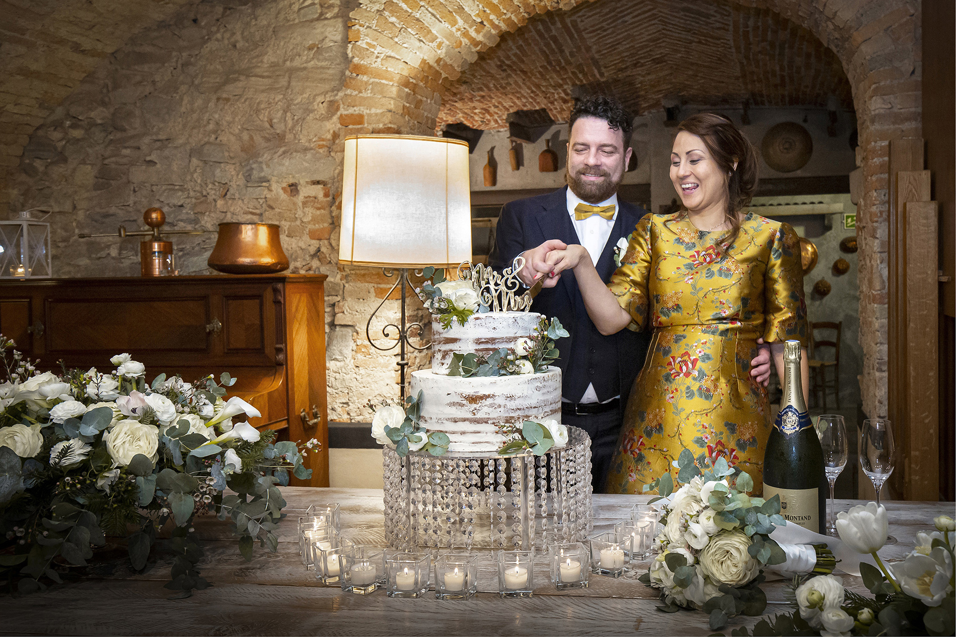 Italian Cellar Elopement Image from Villa Bossi | The reception is held below the Villa Bossi in a traditional and rustic Italian cellar