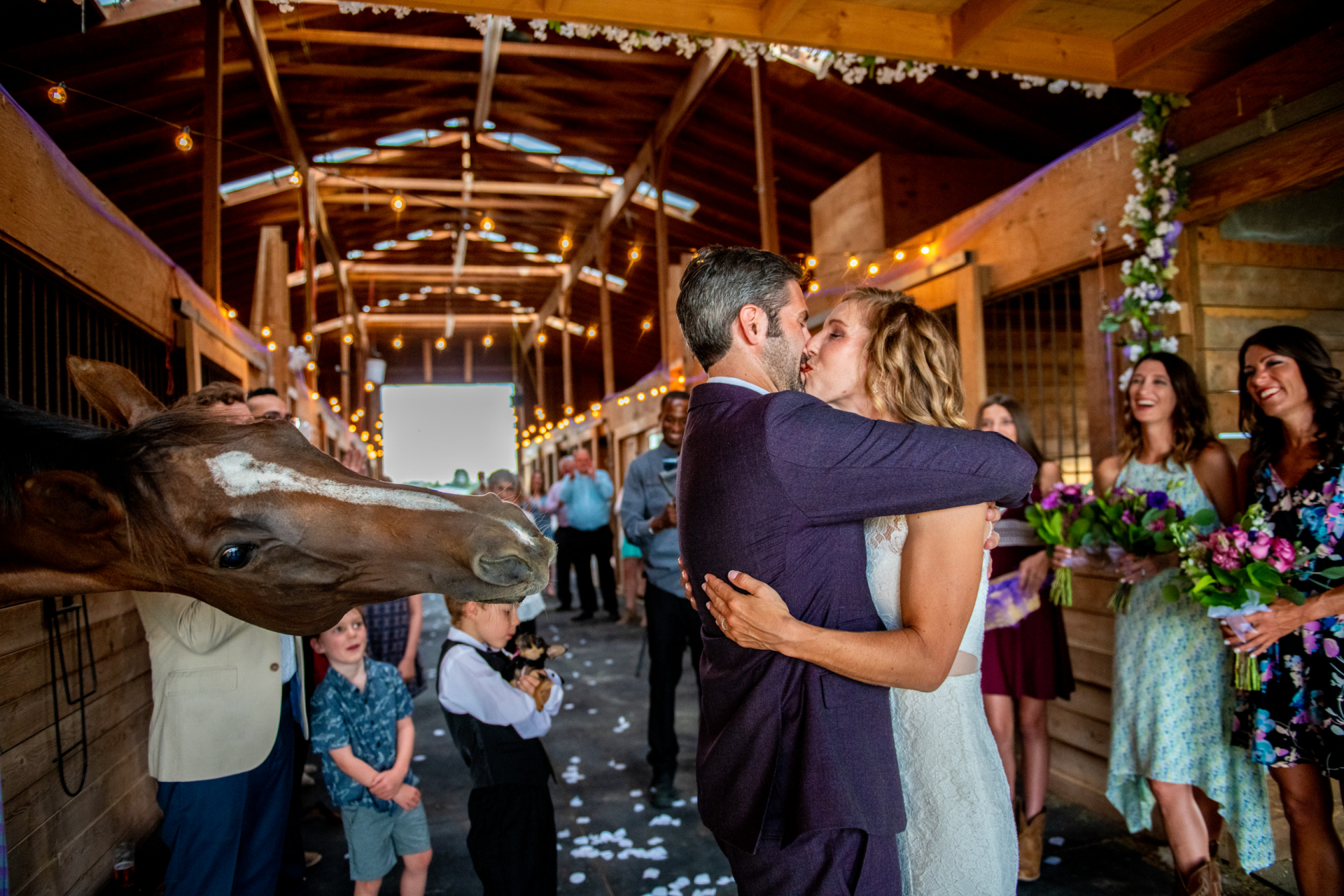 Parker Colorado Small Farm Ceremony Images | The newlyweds seal the deal