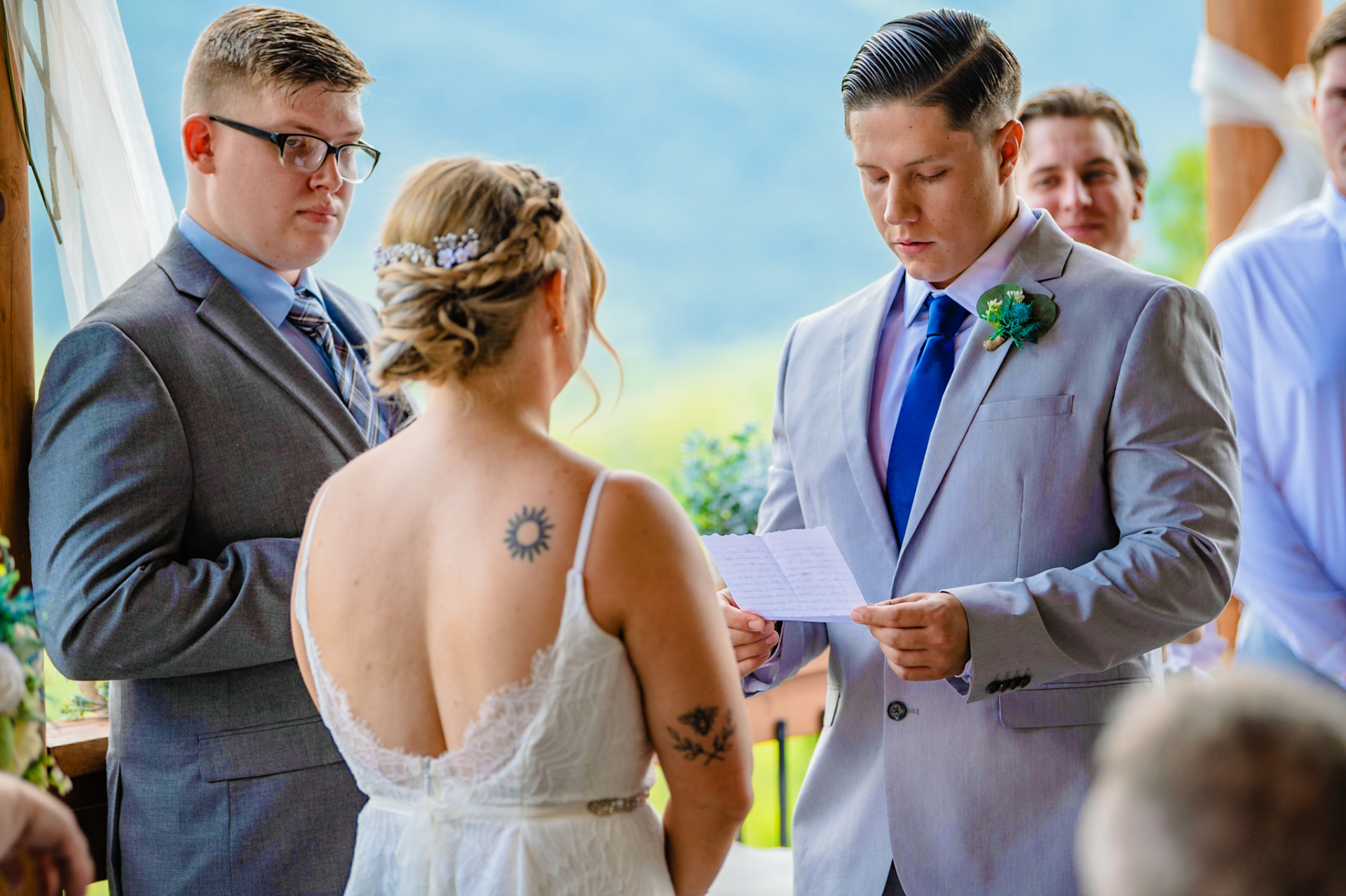 Pigeon Forge Wedding and Elopement Photographers | The groom recites his vows to his bride