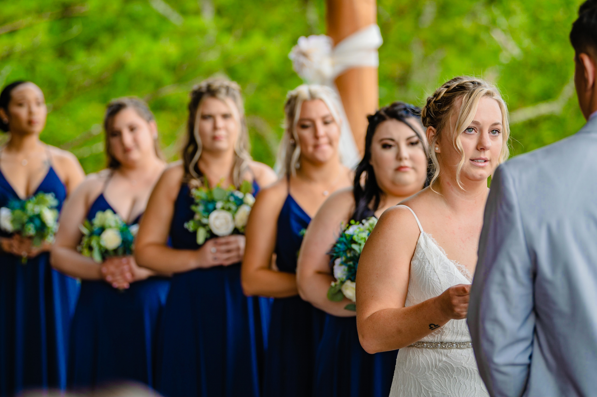 Pigeon Forge, TN, Outdoor Elopement Images | The bride looks at the groom as she says her vows to him