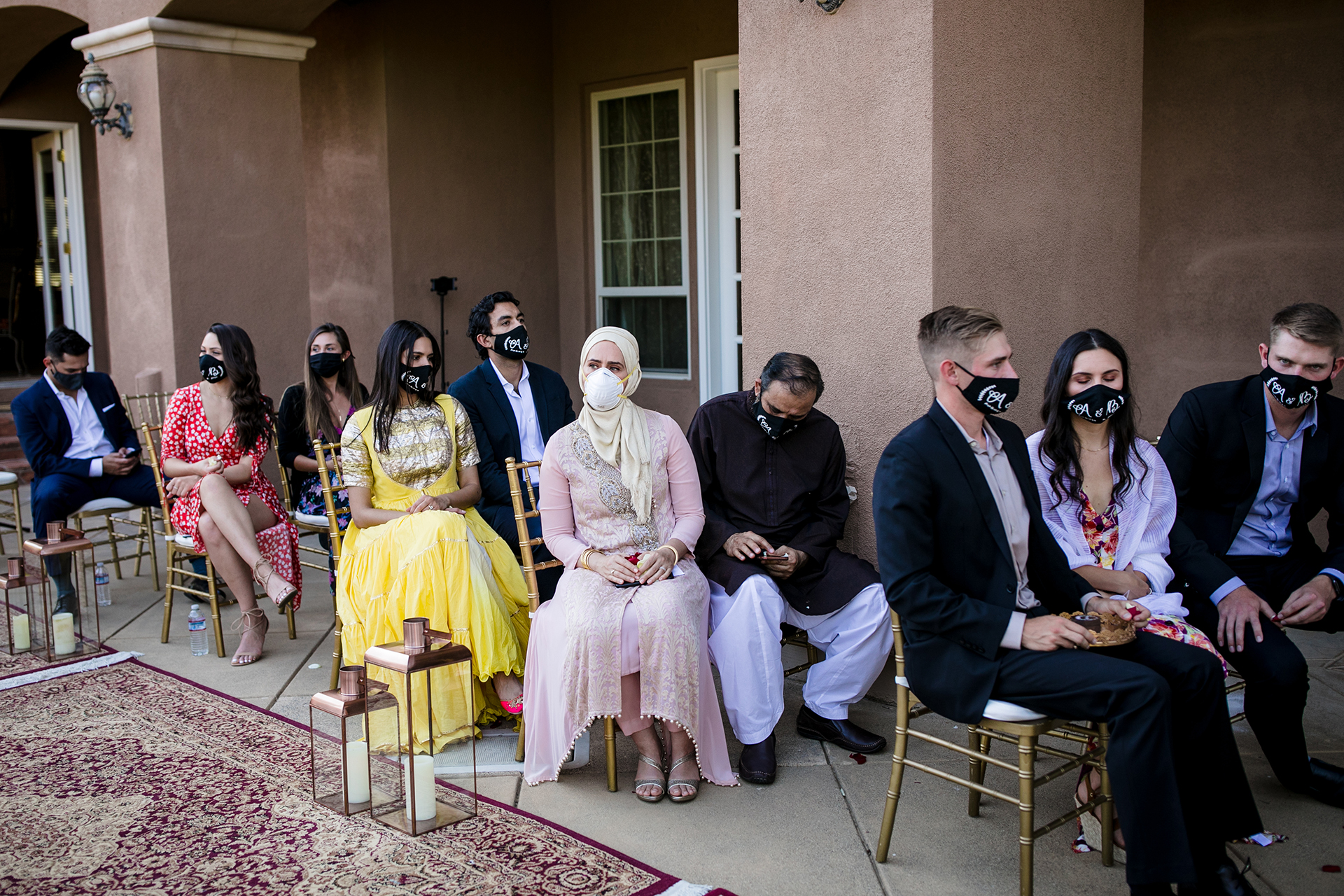 N California COVID-19 Elopement Photographer | The bride and groom gave everyone matching masks at the door