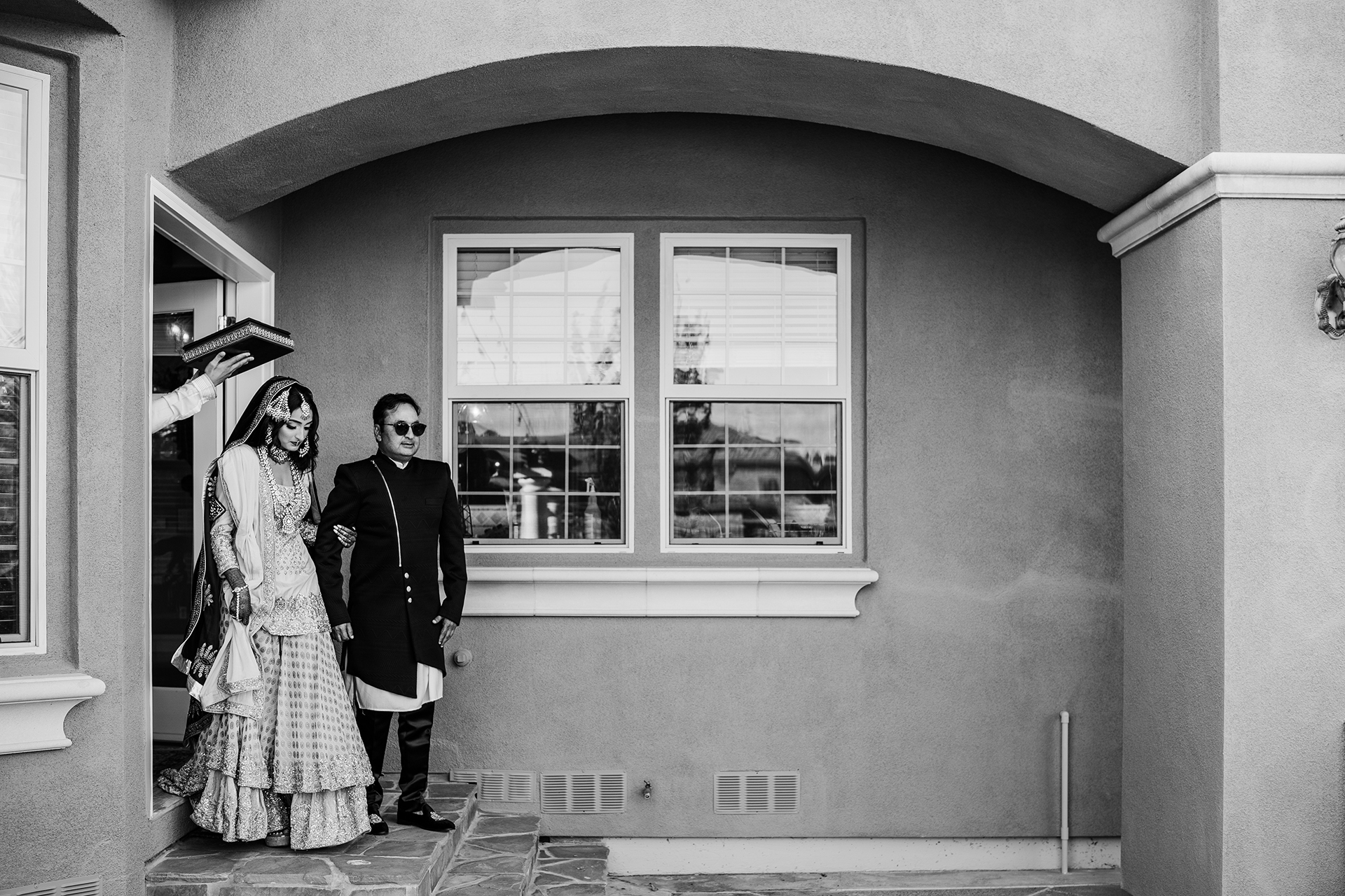 COVID-19 CA Backyard Outdoor Elopement Photos | At last, the bride makes her grand entrance