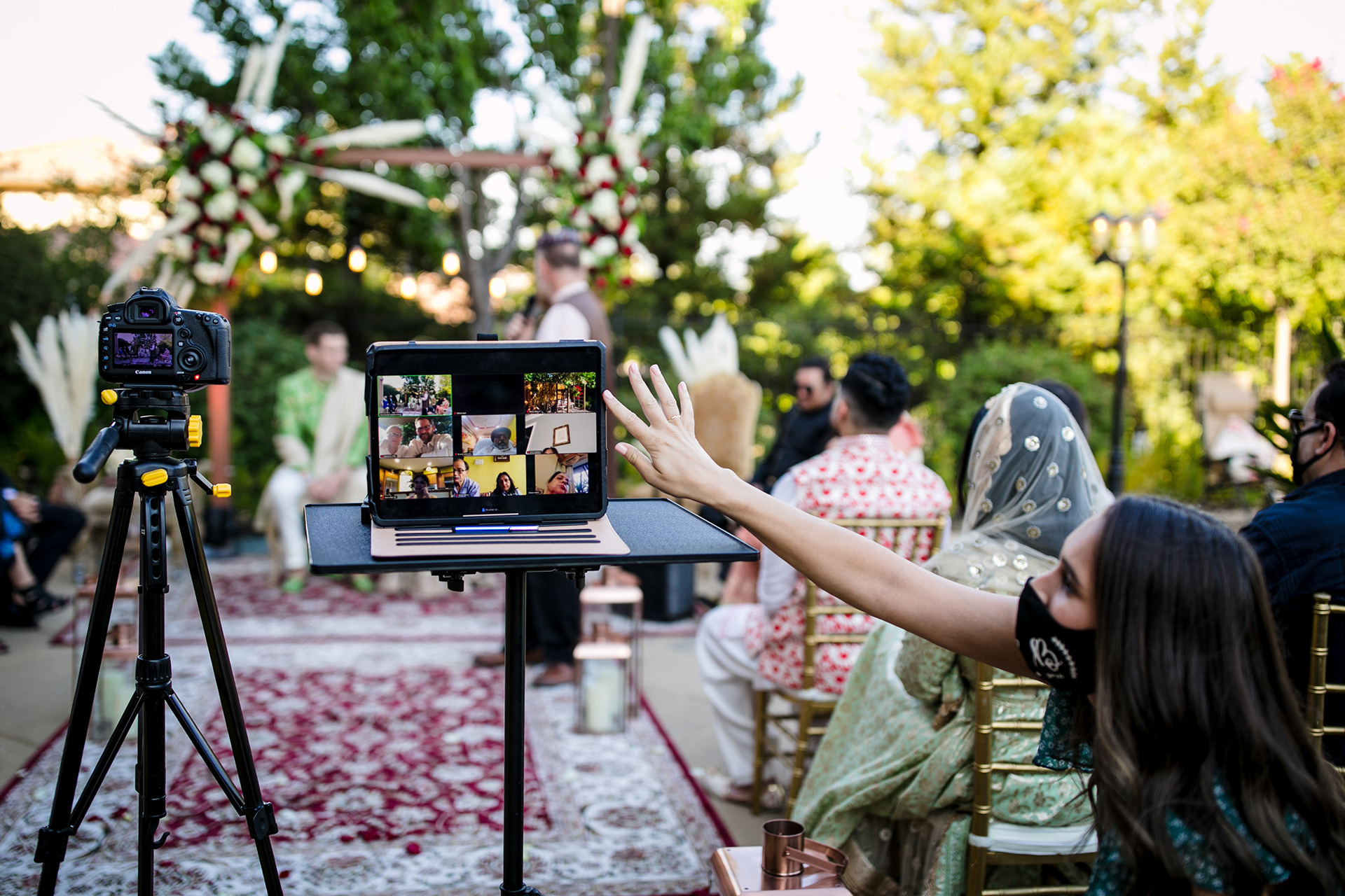 Pleasanton, CA Outdoor Elopement Ceremony Zoom Picture | While only a few guests were able to attend in person, one guest monitored an iPad during the ceremony