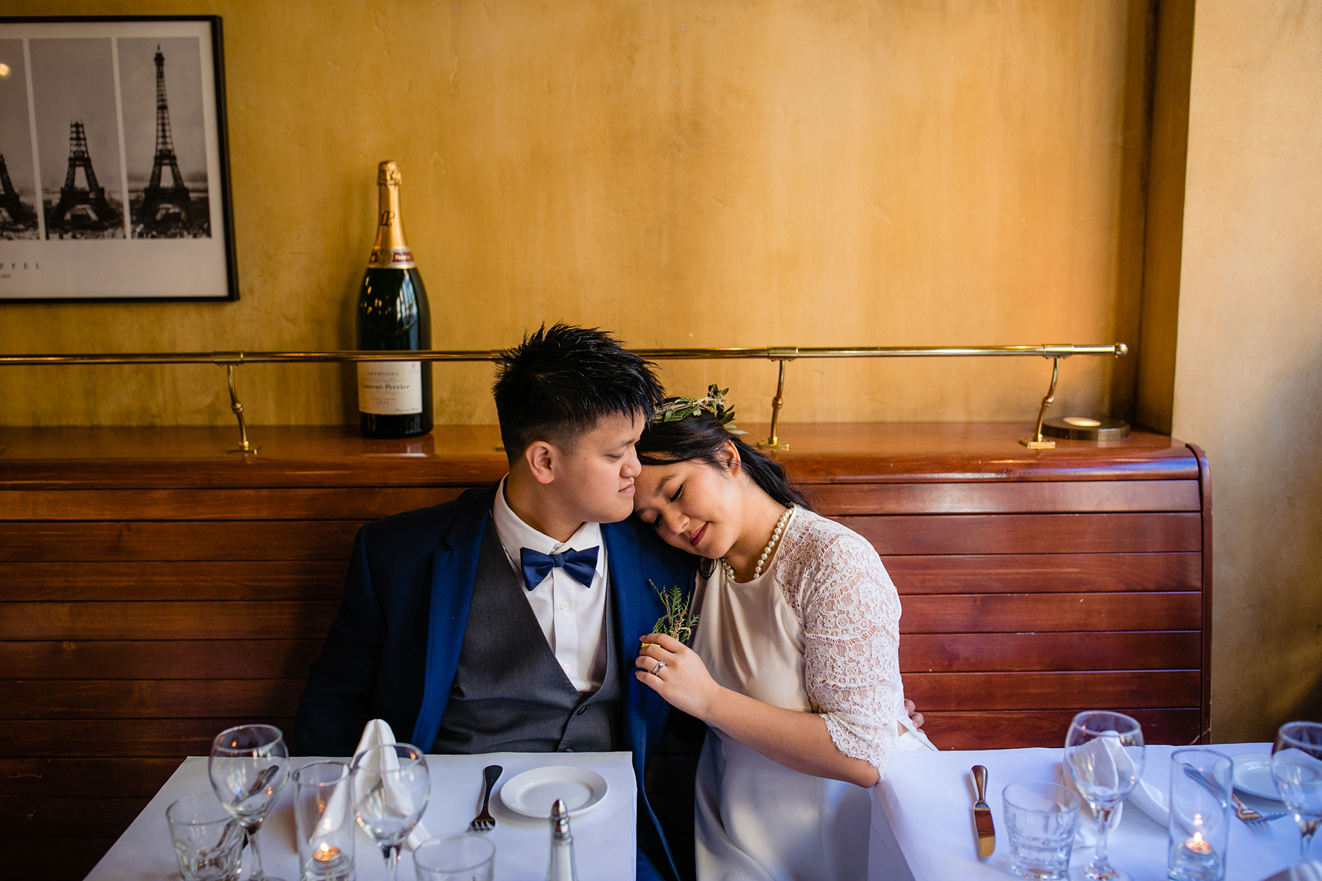 San Francisco Chinatown Restaurant Wedding Reception Venue Image | The couple shares an intimate moment with one another at the China Town restaurant