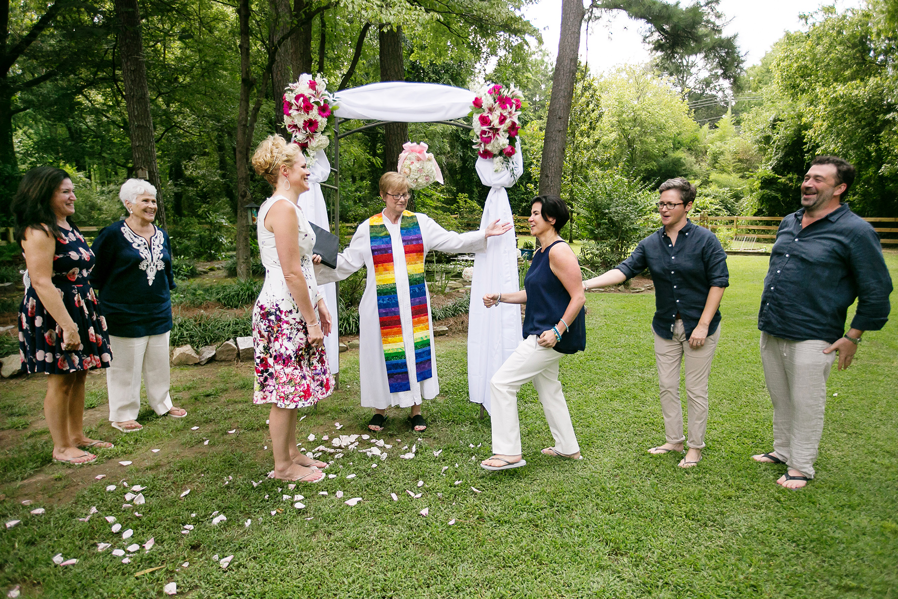 Intimate Backyard Wedding Photography | The couple greet each other before the wedding
