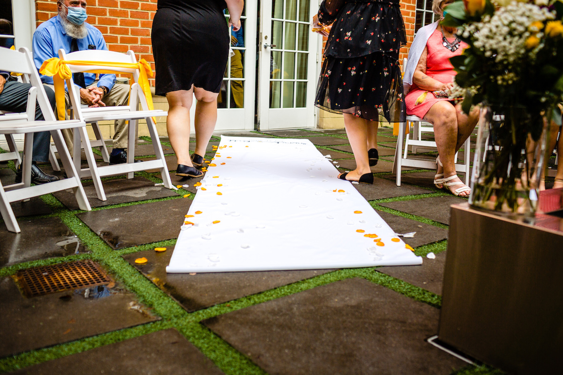 Outdoor Elopement Photographers in Alexandria, VA | The ceremony is about to begin, and the guests sit on either side of the outdoor aisle