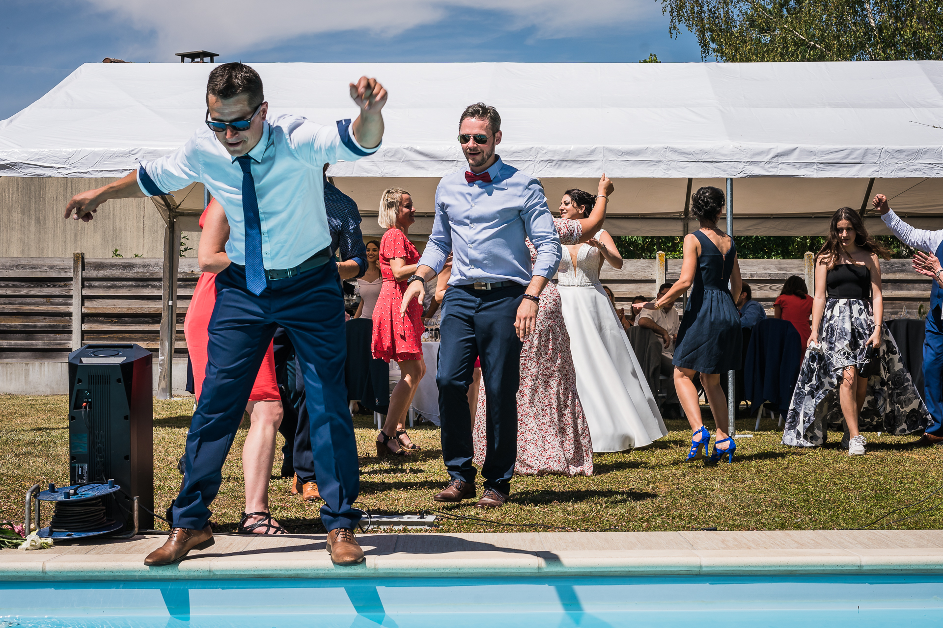 France Photography from a Backyard Elopement by the Pool | A pool incident happened