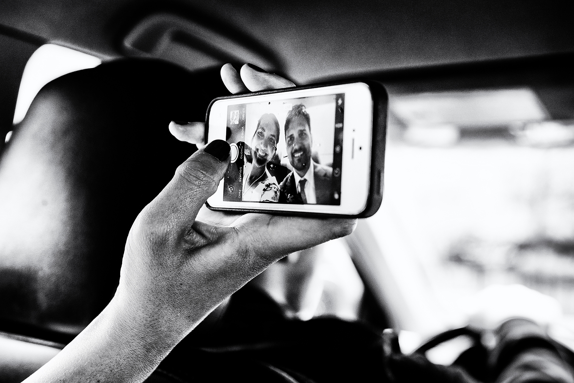 Brooklyn, Dumbo NYC Elopement Photos | In the cab, On their way to take their official wedding portraits