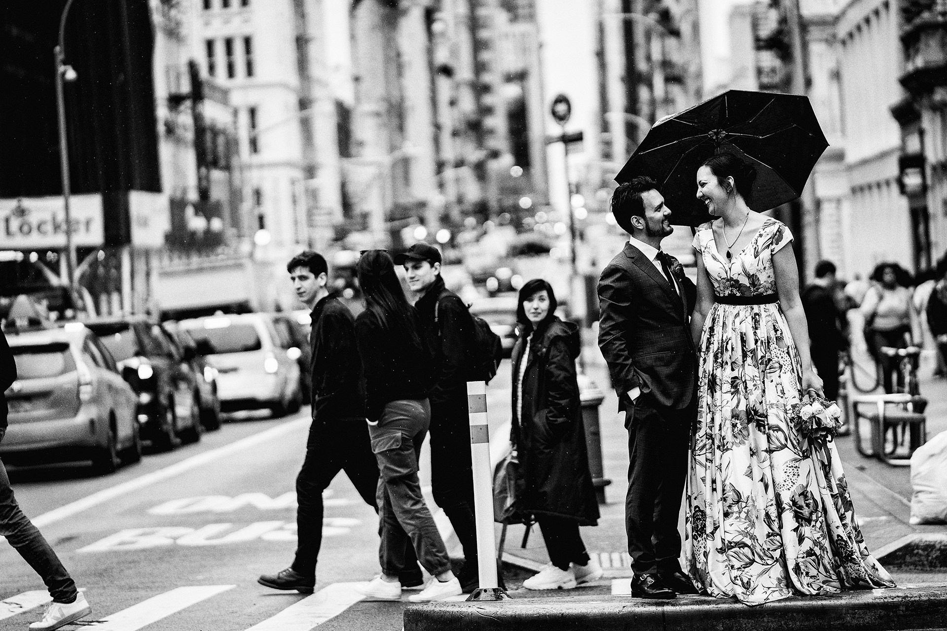 Elopement Wedding Photos from SoHo | The couple poses for a NYC street portrait
