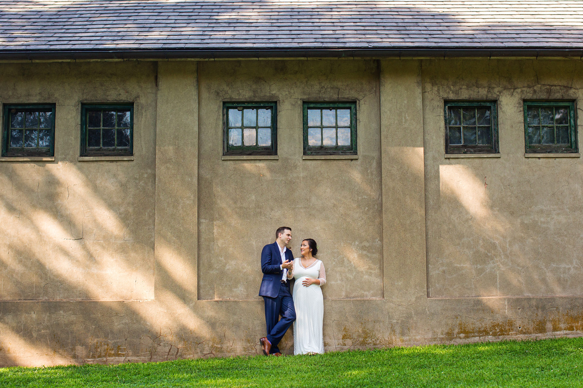 NJ Elopement and Micro Wedding Photographers | The newly married couple take a minute to relax in Colonial Park