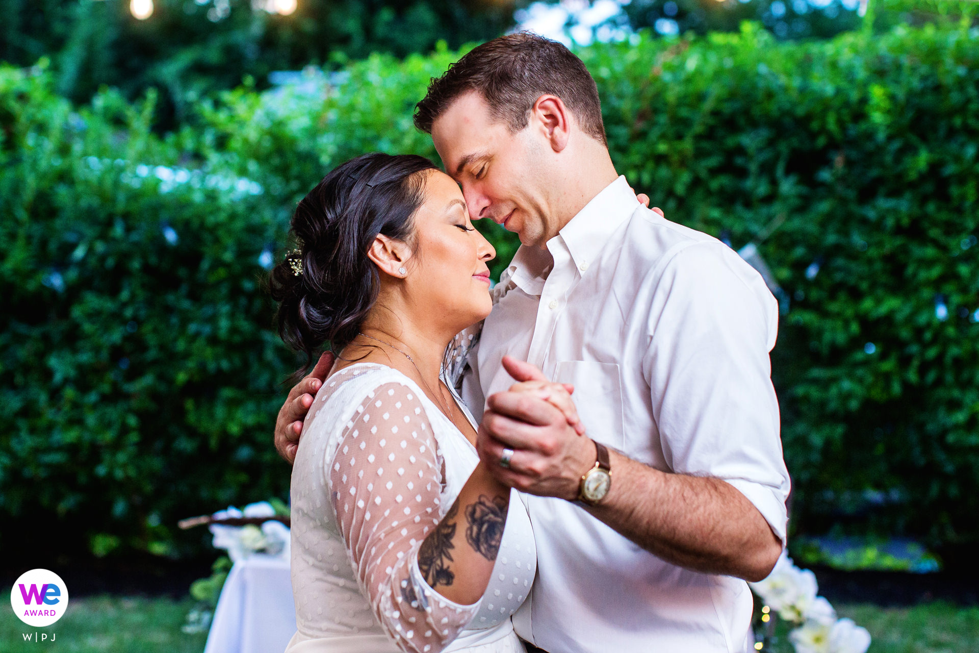 Weddings and Elopements Photos for NJ | The bride and groom enjoy a quiet moment dancing during their backyard wedding reception