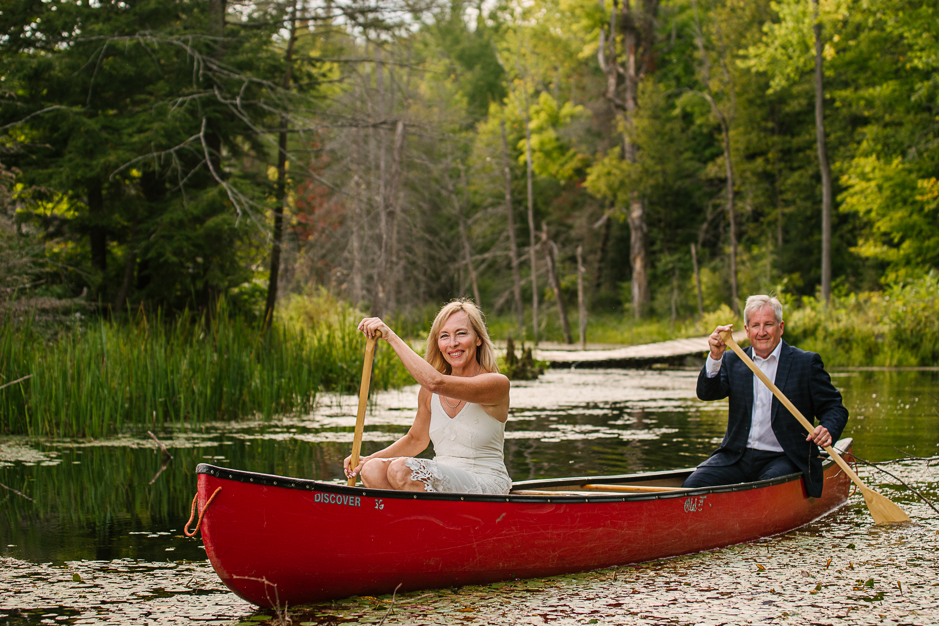 Backyard Elopement Images from Ontario | Paying homage to one of their favorite pastimes, being on the water