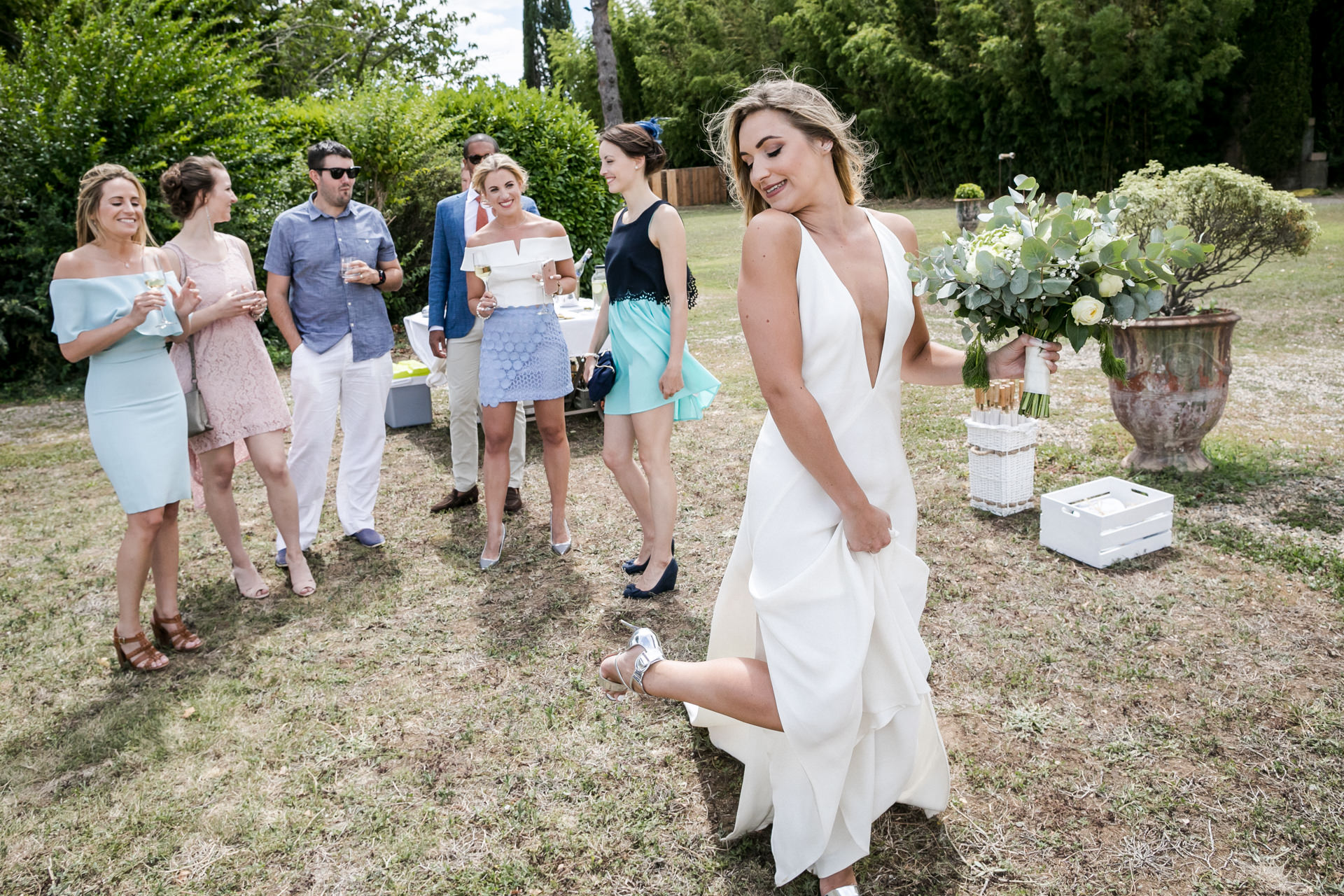 France Vineyard Winery Elopement Image | The bride shows off her stunning shoes