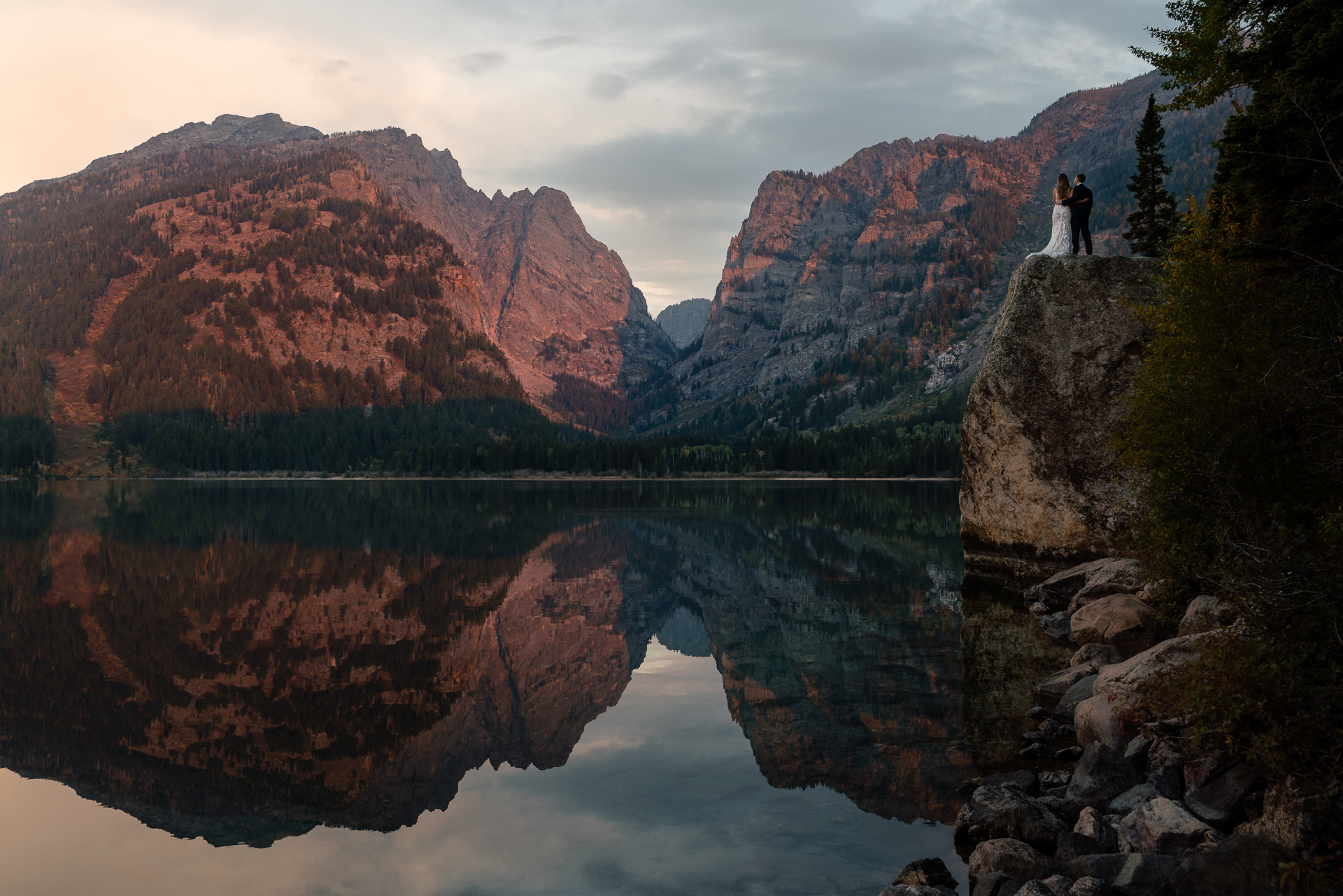 Eloping Picture - Grand Teton National Park, Wyoming | Sunrise portrait of the couple before the self-uniting ceremony