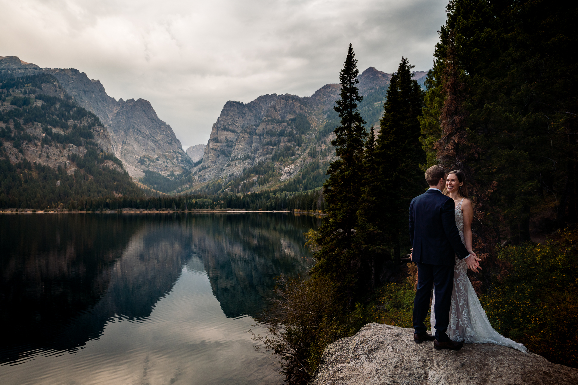 Grand Teton Elopement, WY Wedding Photography | Moments after the couple finished their ceremony and had their first kiss following their self-uniting ceremony