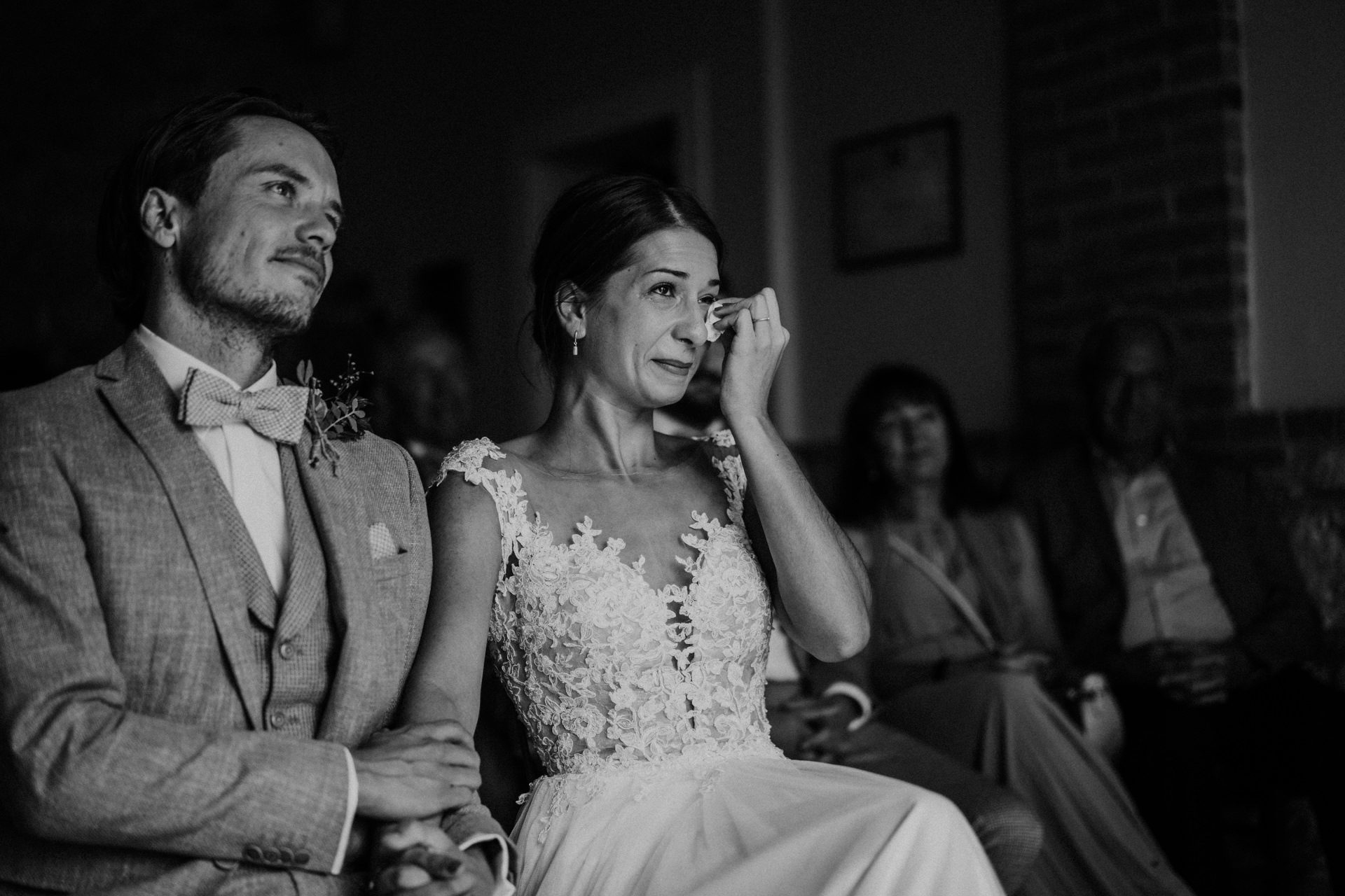 Il Rigo Farmhouse Elopement Image from Tuscany Val d'Orcia   The bride displays a moment of emotion