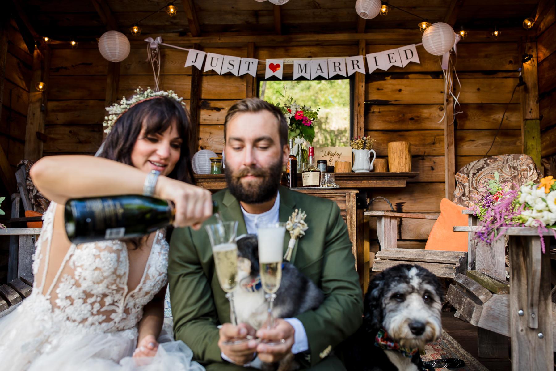 Afbeeldingen van een Adirondacks New York-schaking | de bruid en bruidegom en hun twee honden gingen terug naar de schuur om champagne in te schenken