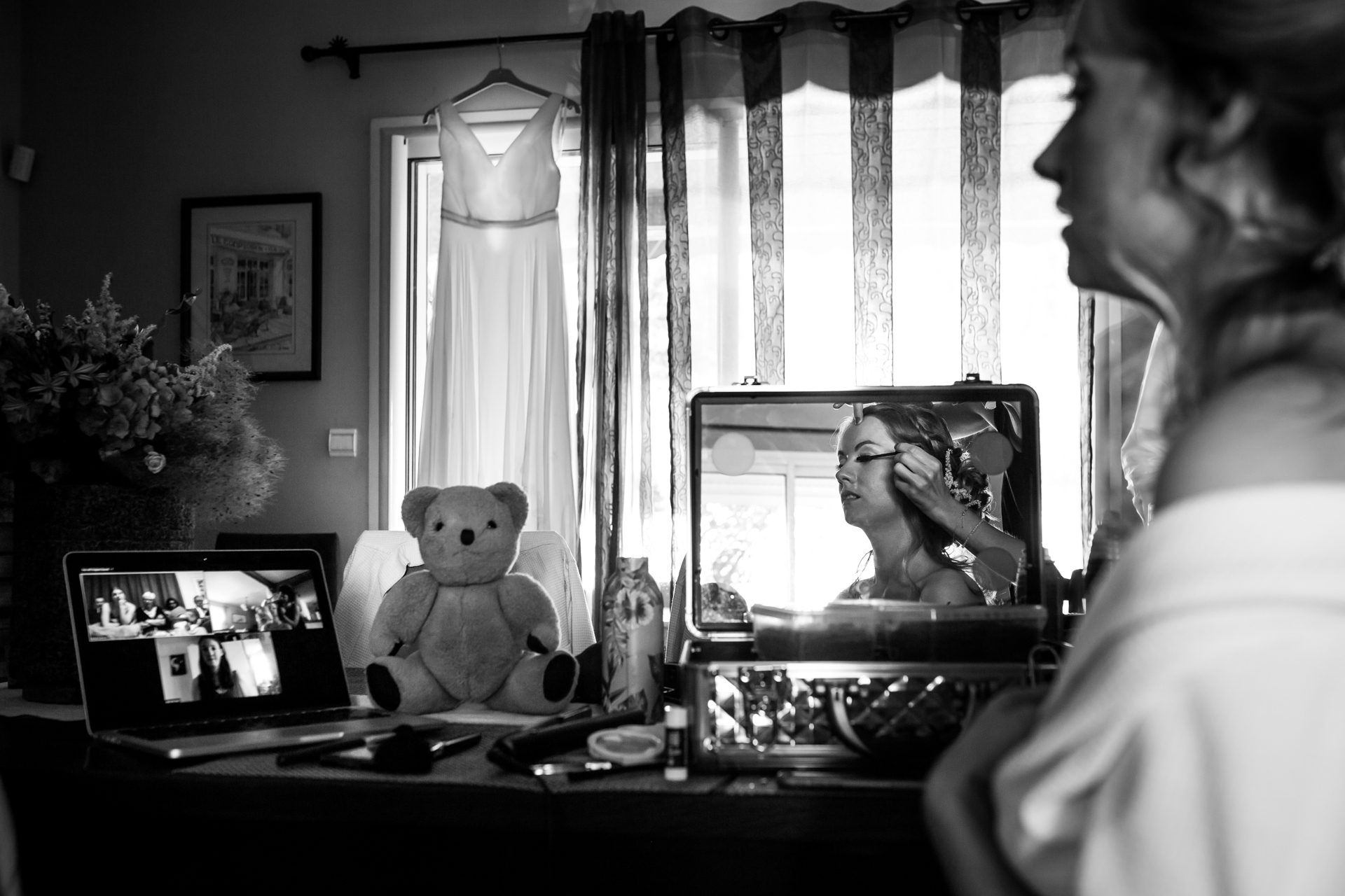 Albi Elopement Photography - France | With her childhood teddy bear looking on, the bride gets ready for the ceremony