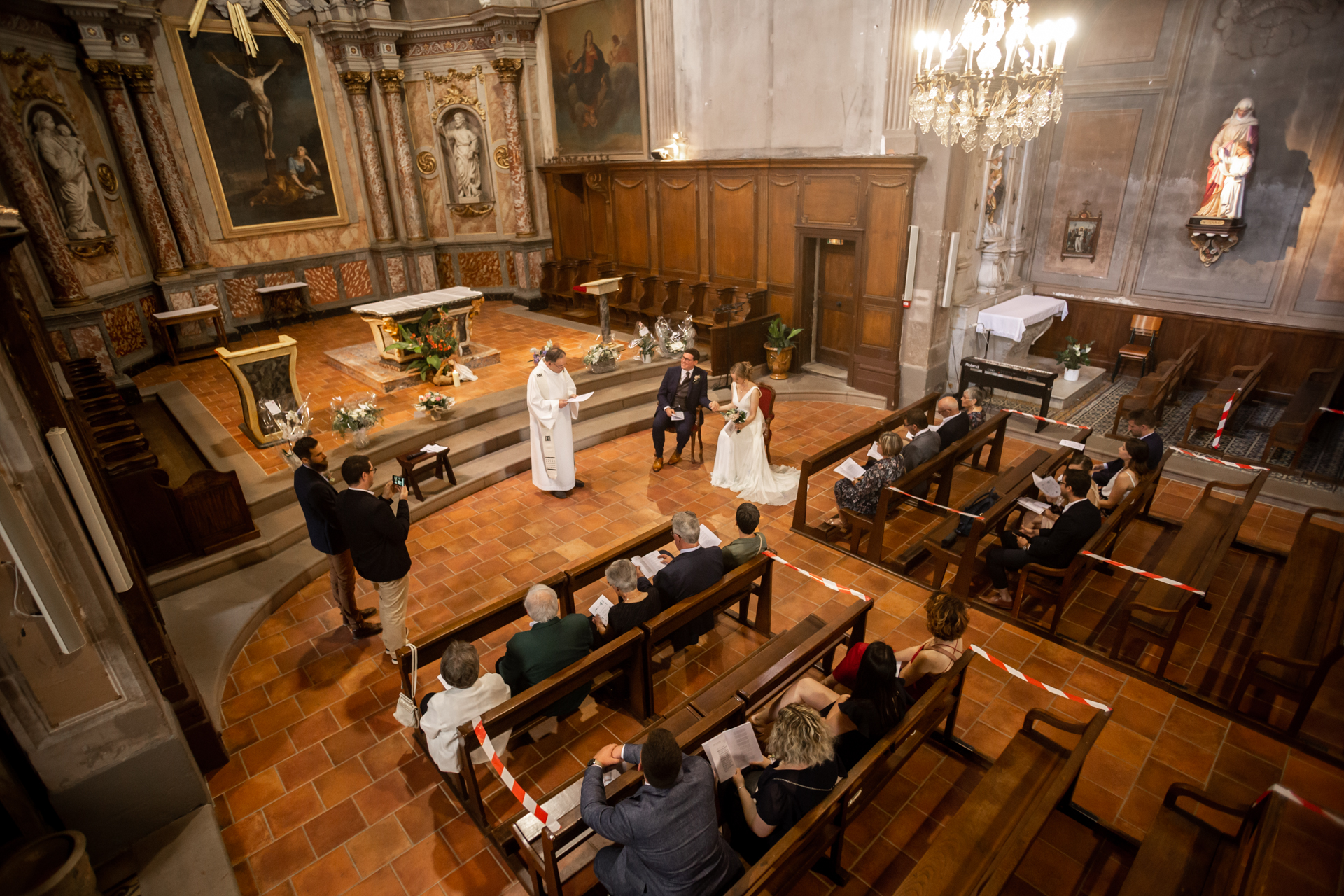 France Elopement Images | In a large and spacious church in France, the couple says their vows