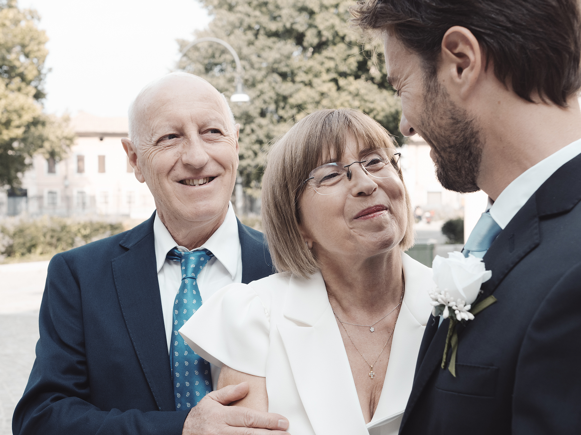 Villa Litta Modigliani elopement reception photography | The groom's parents beam with pride