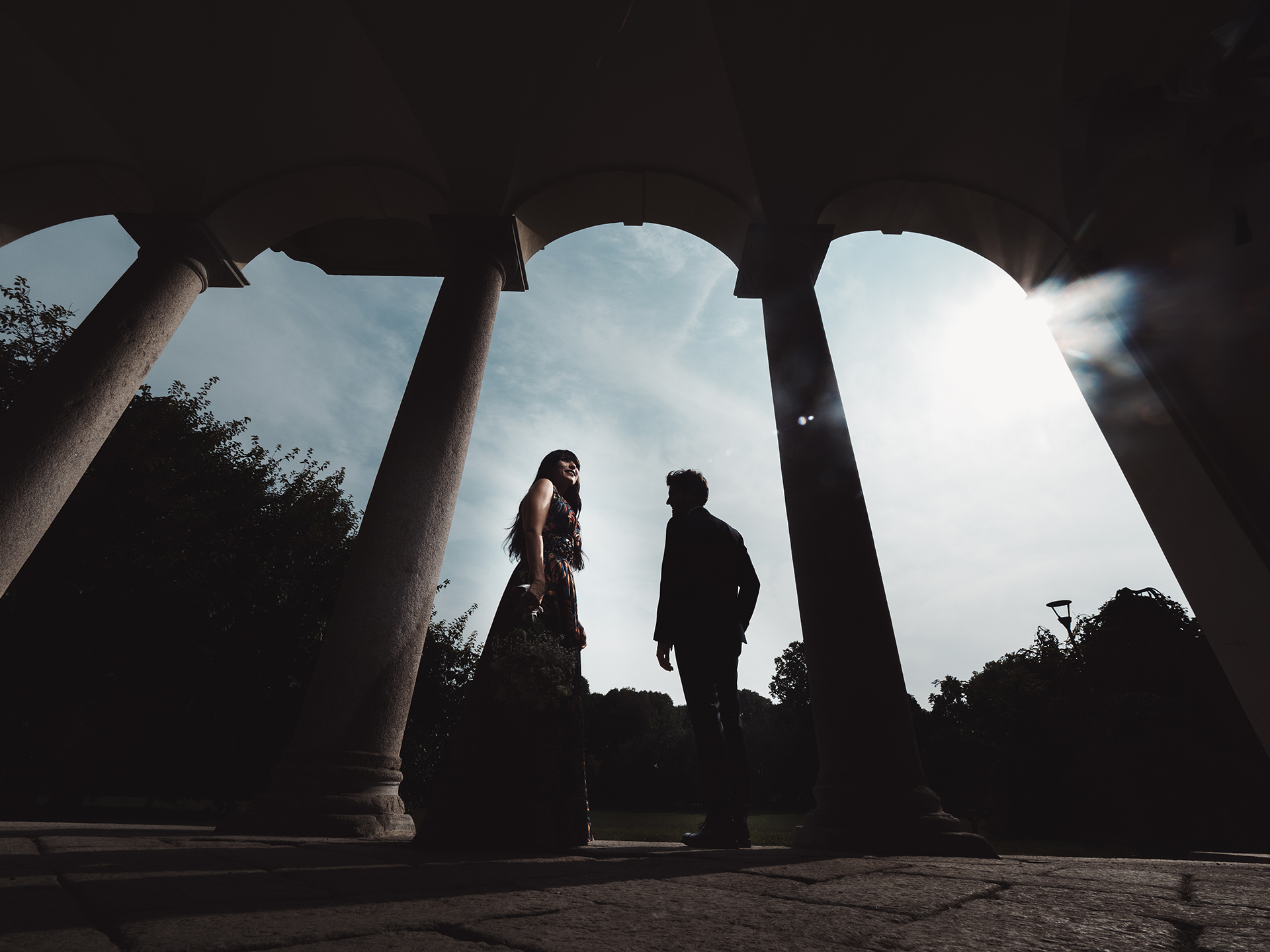 Milano Italy Elopement Portrait Photographer | The couple is posing for a contemporary portrait