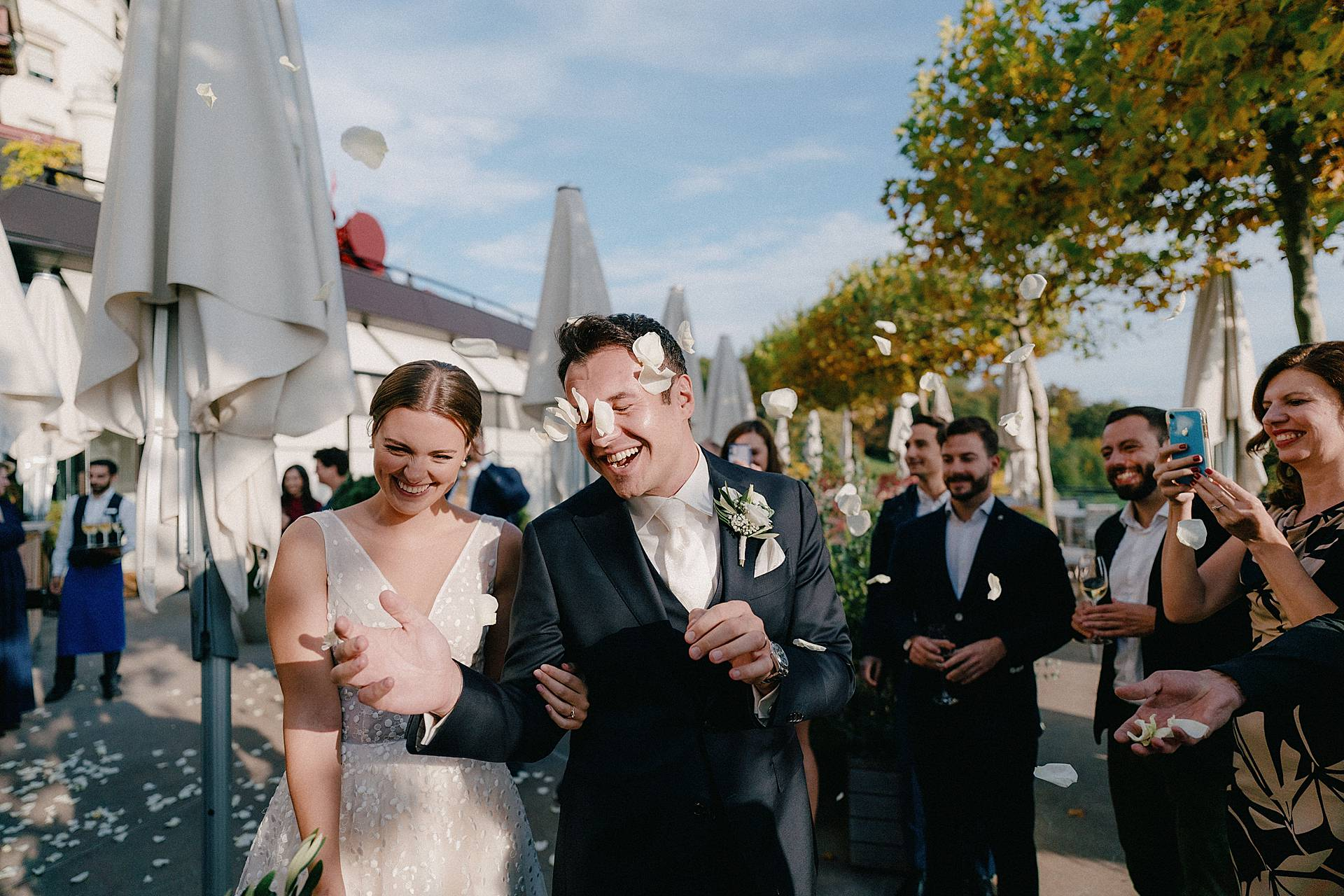 Zurich Dolder Grand Wedding Photographers | The bride and groom are married and welcomed by their guests