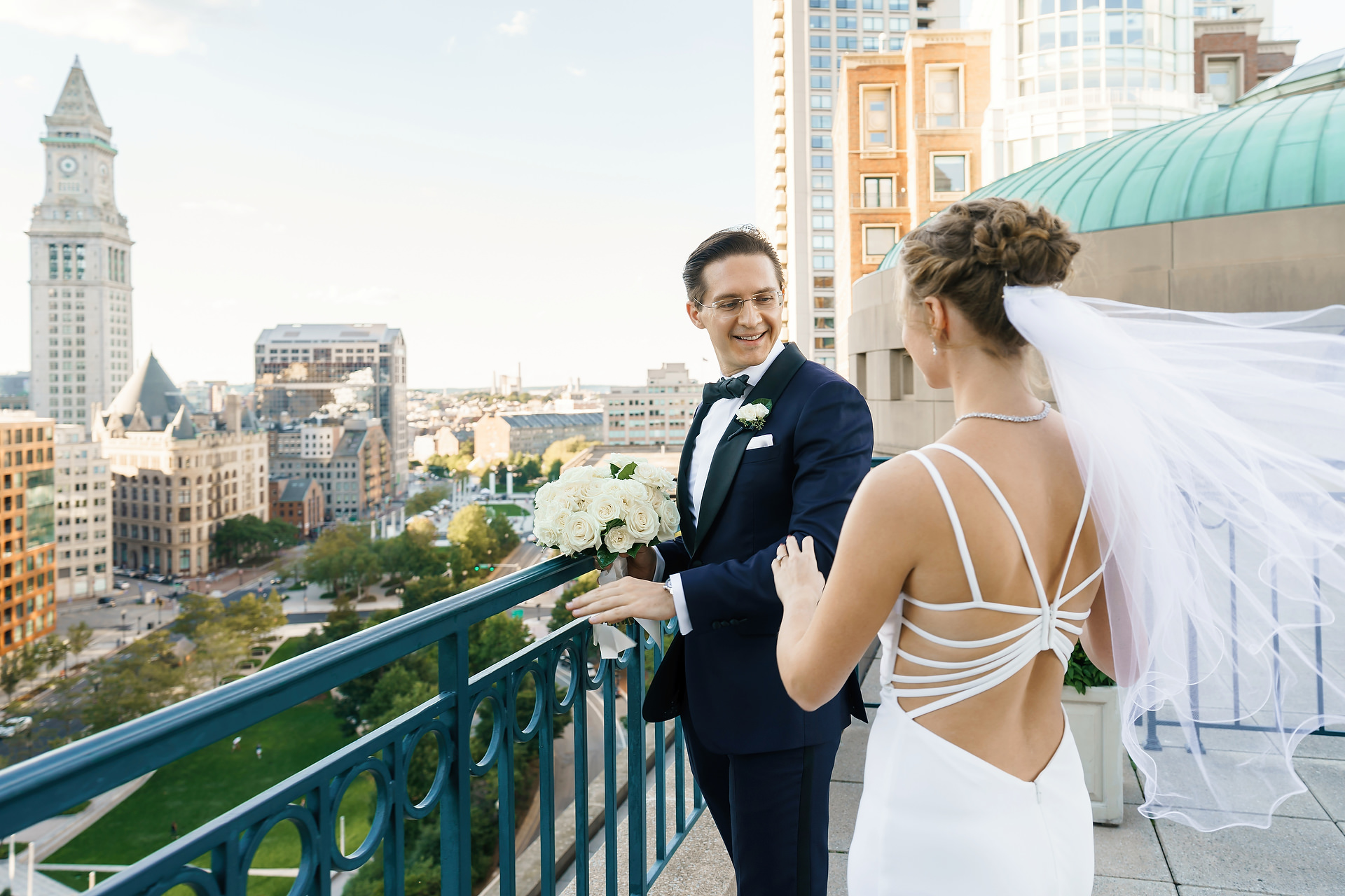 Boston Harbor Hotel Wedding Photographers | an intimate moment together before the ceremony