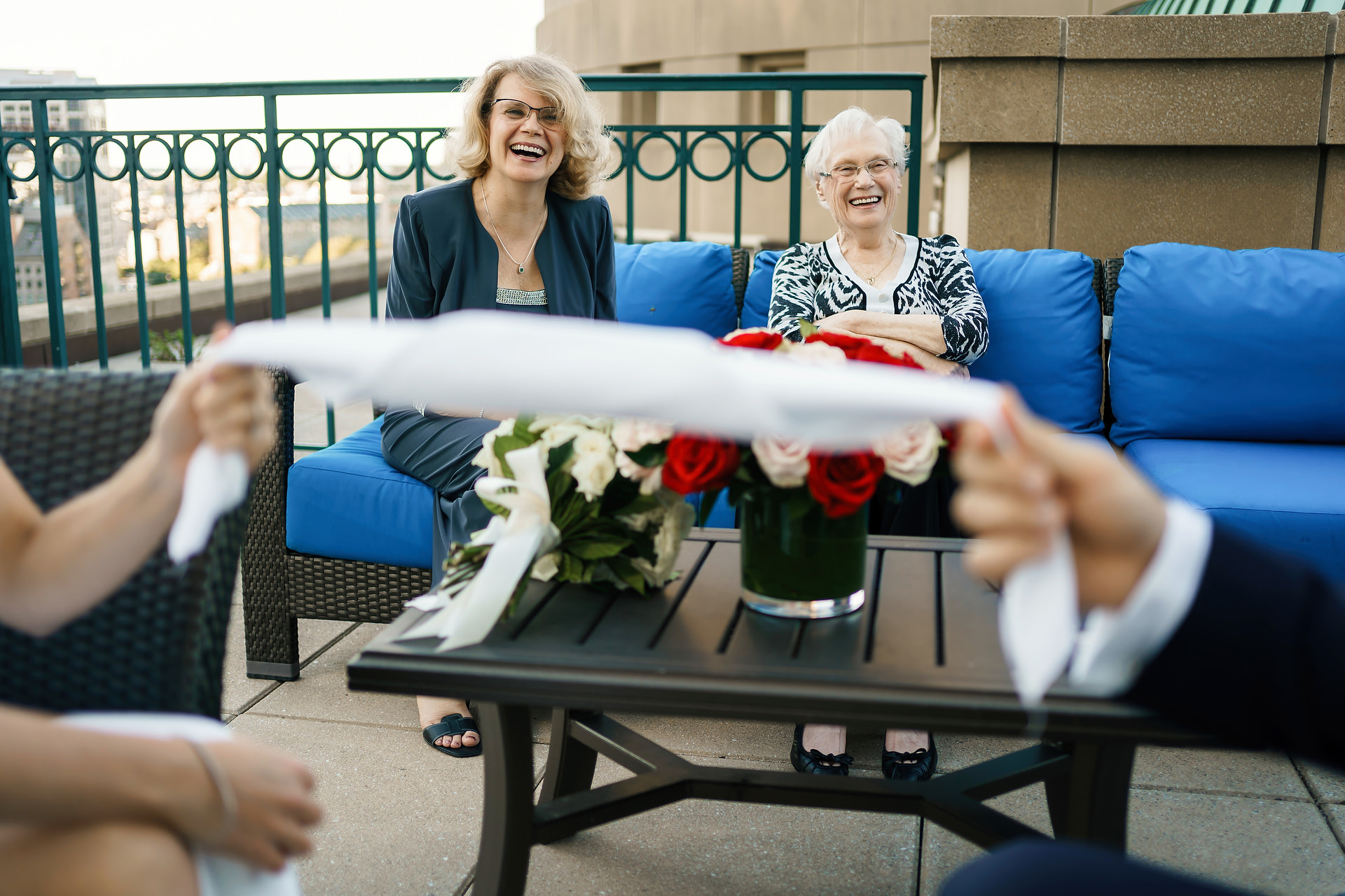 Boston, MA Harbor Hotel Wedding Photos | The bride's mother and grandmother look on