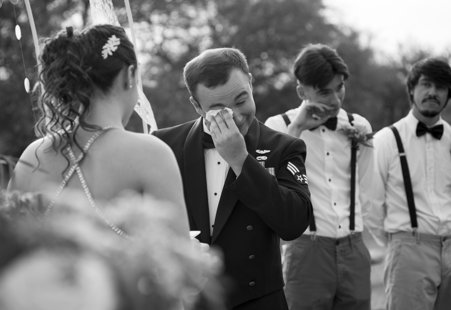 Arizona Elopement Photography | Overcome with emotions, the groom wipes away a tear