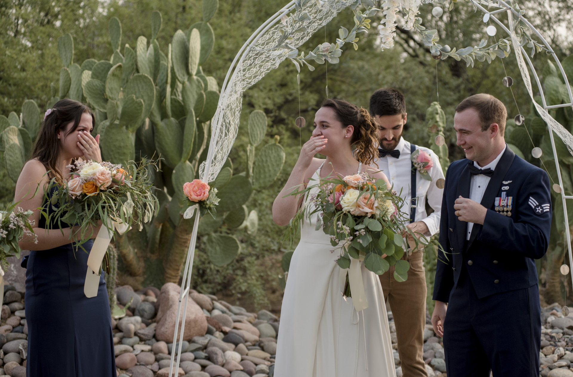 New River, Arizona Elopement Ceremony Image | The bride and her sister share a moment of connection