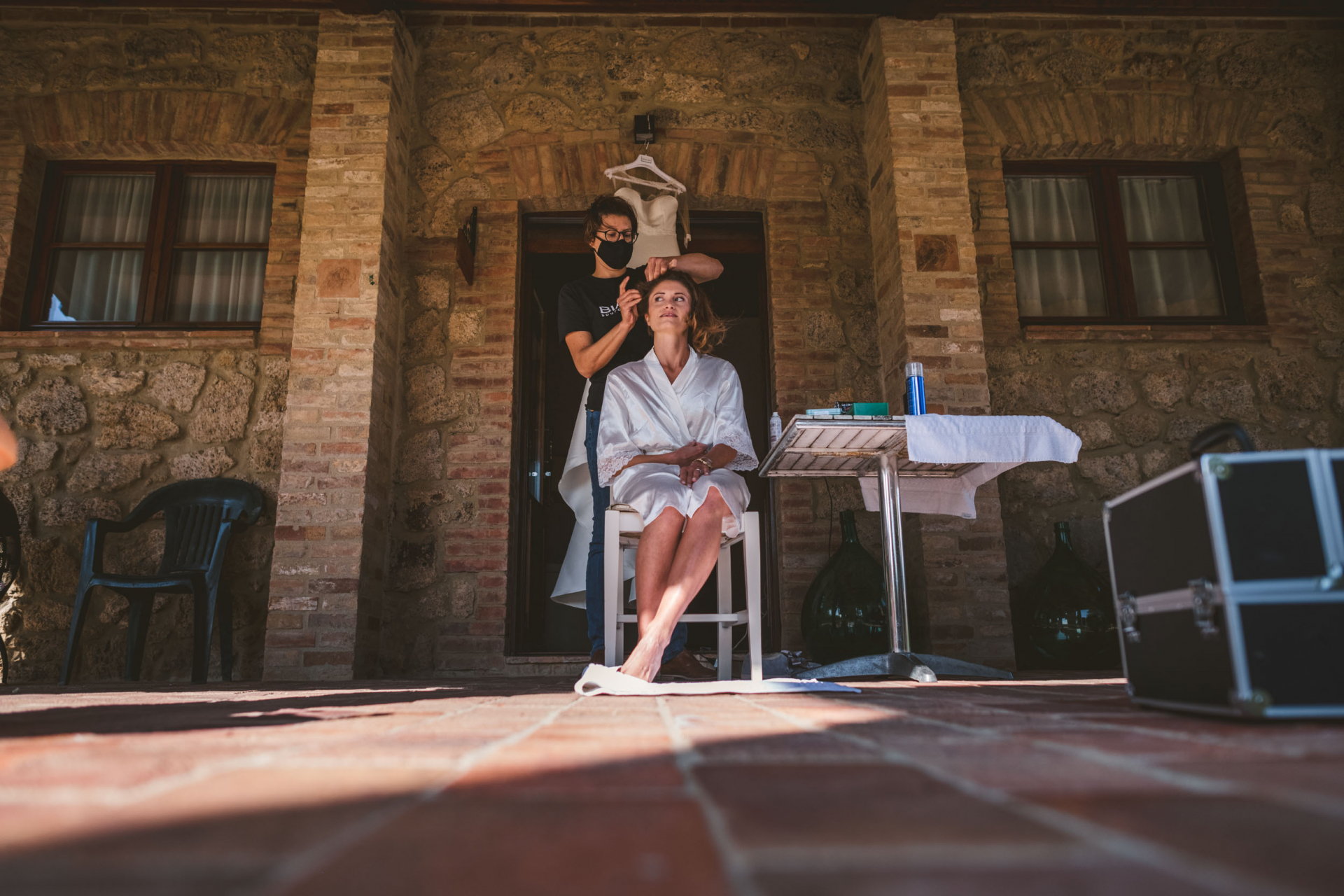 San Galgano Abbey Elopement Photo from Italian Wedding   The bride is happy to see that the weather is improving