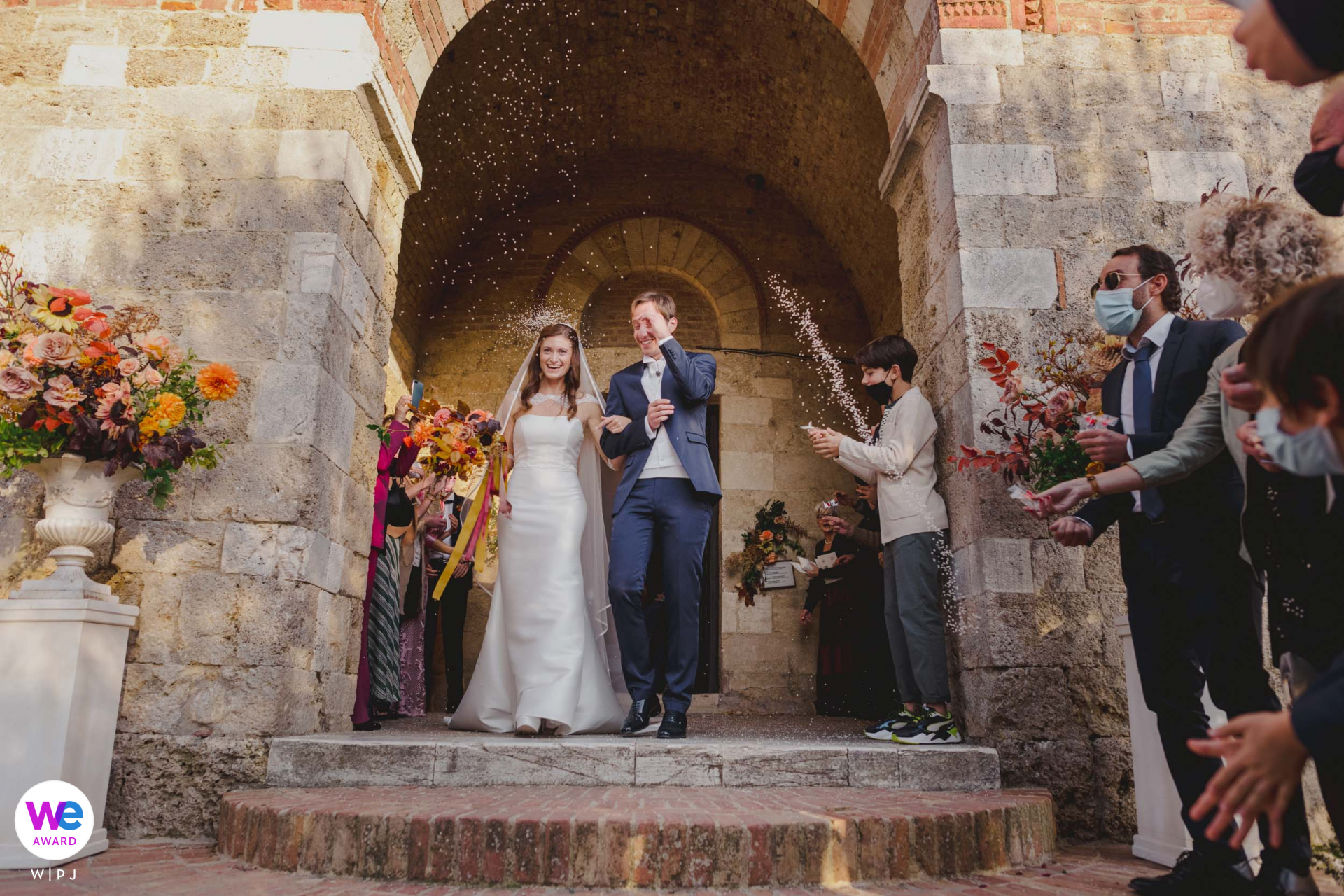 Elopement Photography at San Galgano Abbey   Here we see the couple exiting the ceremony arm-in-arm
