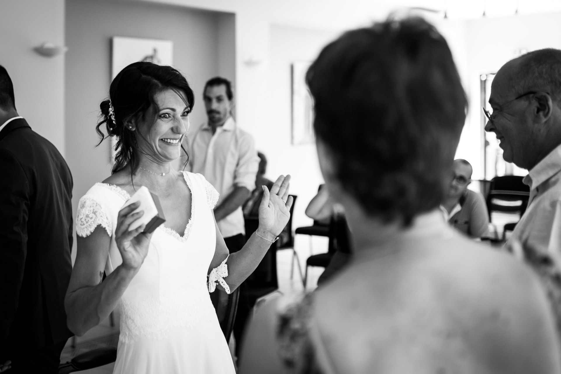Lescure, Tarn, FR Wedding Ceremony Photography | Happiness on her face when she looked at her parents