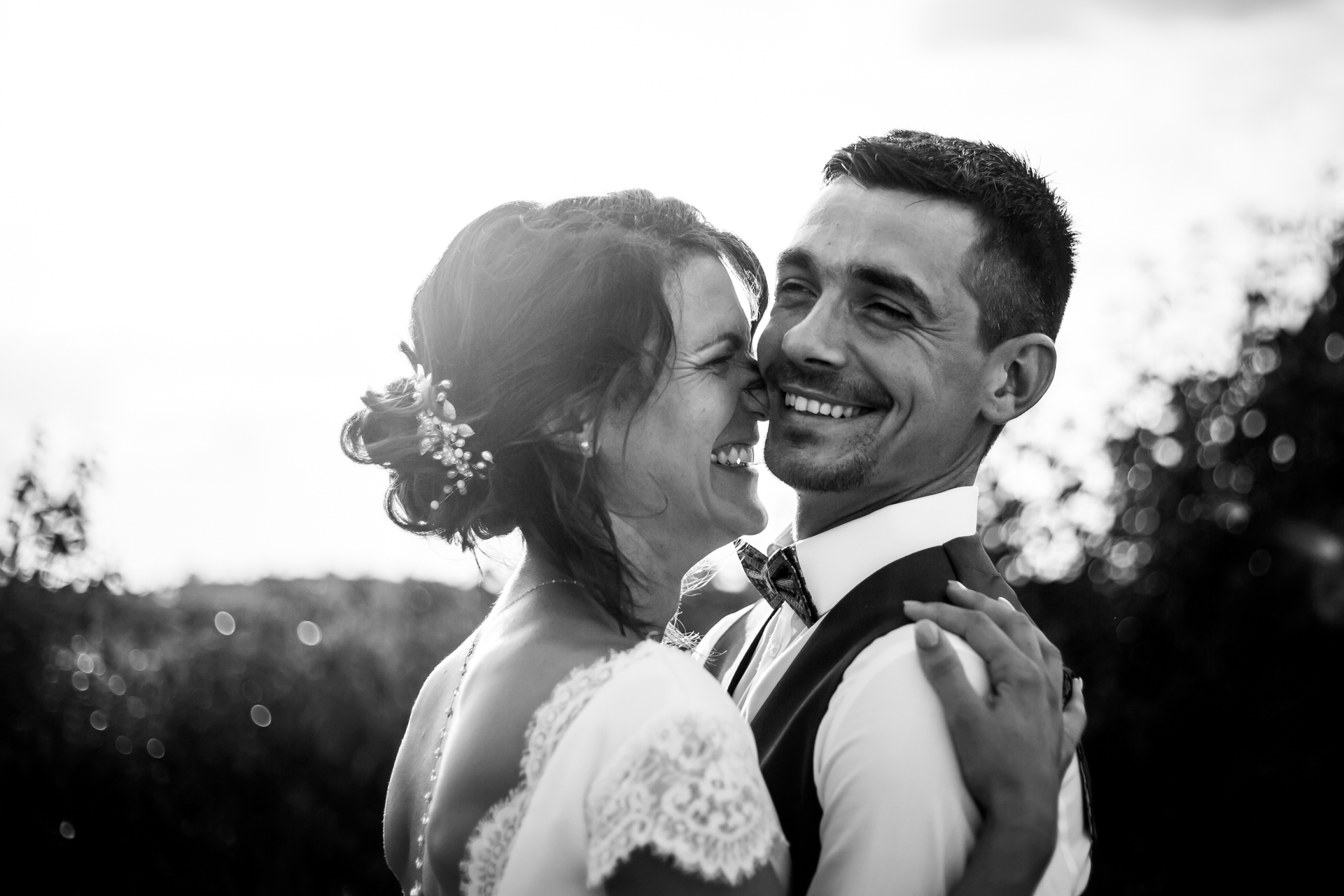Romantic Wedding Portrait from Tarn France | a small couple portrait session in black and white