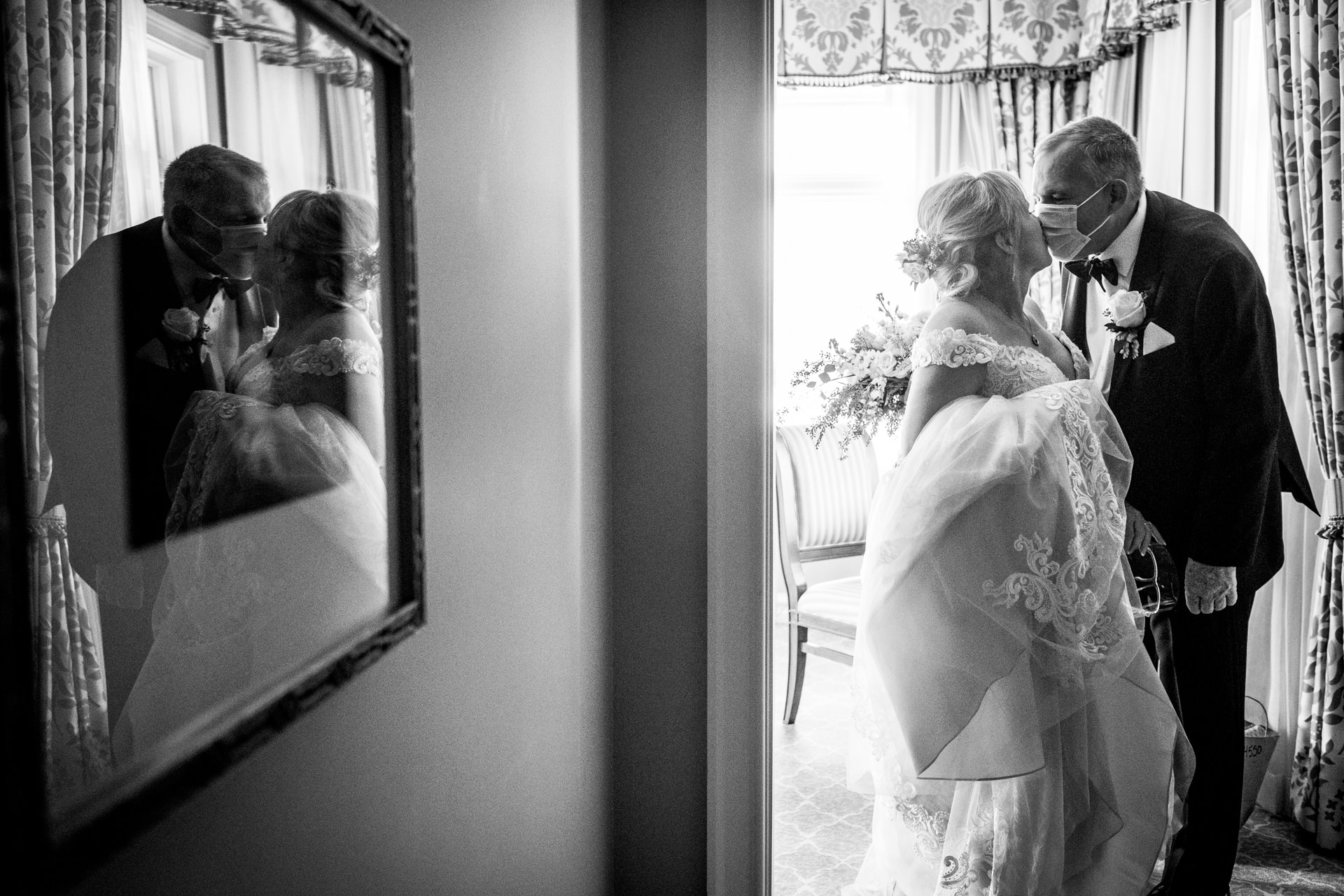 Broadmoor Hotel of Colorado Springs, CO Wedding Picture Session | A kiss before leaving their wedding suite