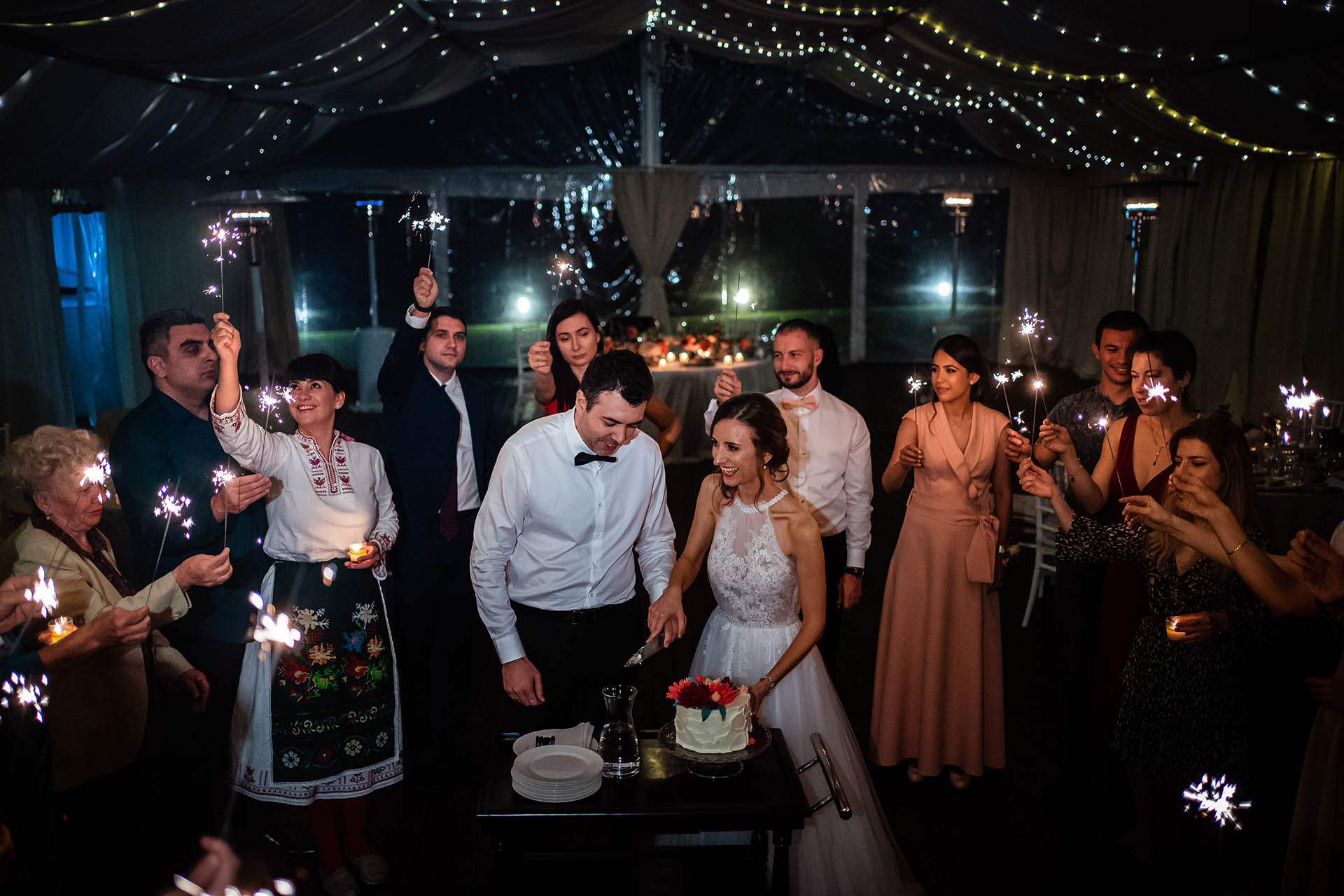 Bulgaria Villa Ekaterina - Wedding Photographer | The wedding guests light the way with sparklers