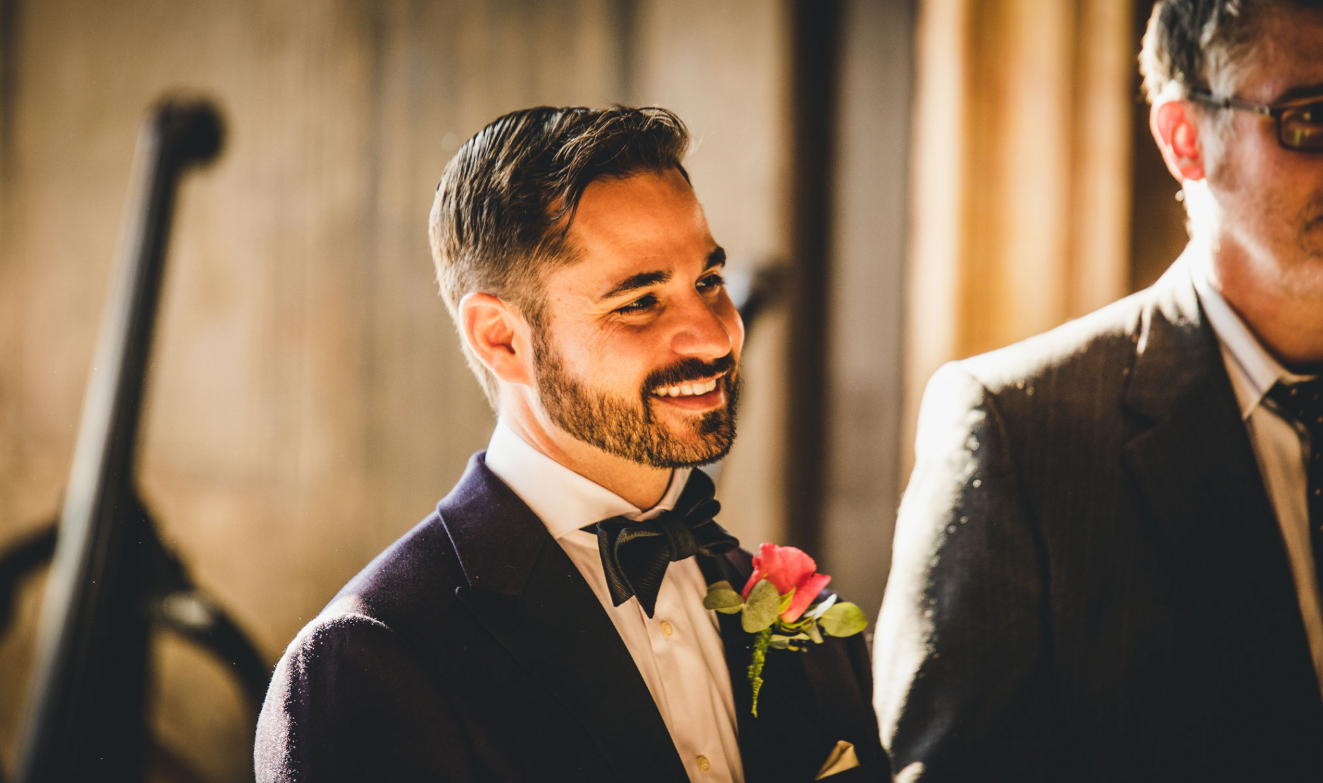 Ca Sagredo Hotel Venice, IT Wedding Photography | The groom smiles at the start of the elopement ceremony